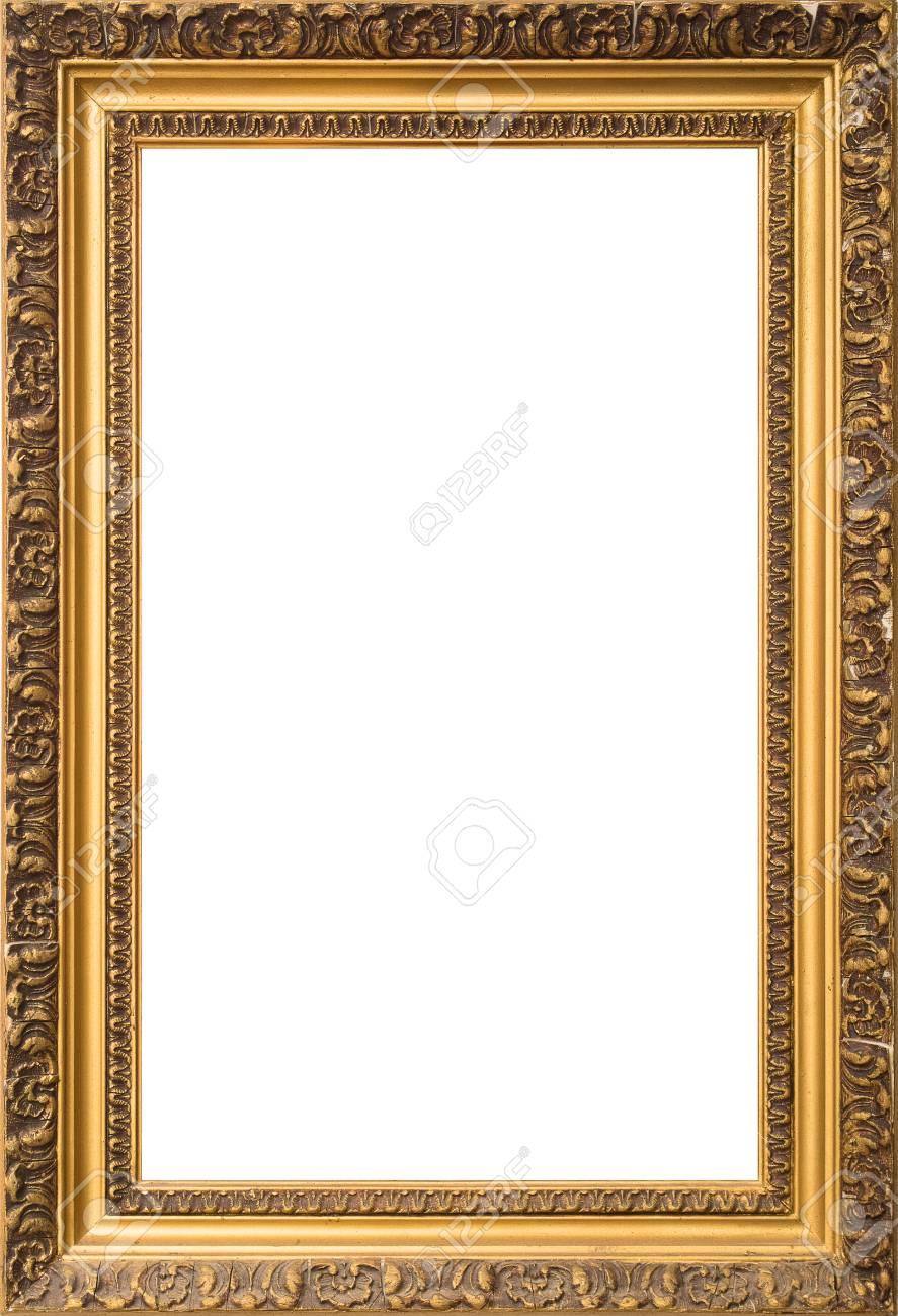 Antique Golden Old Broken Cracked Wooden Frame Isolated On White ...