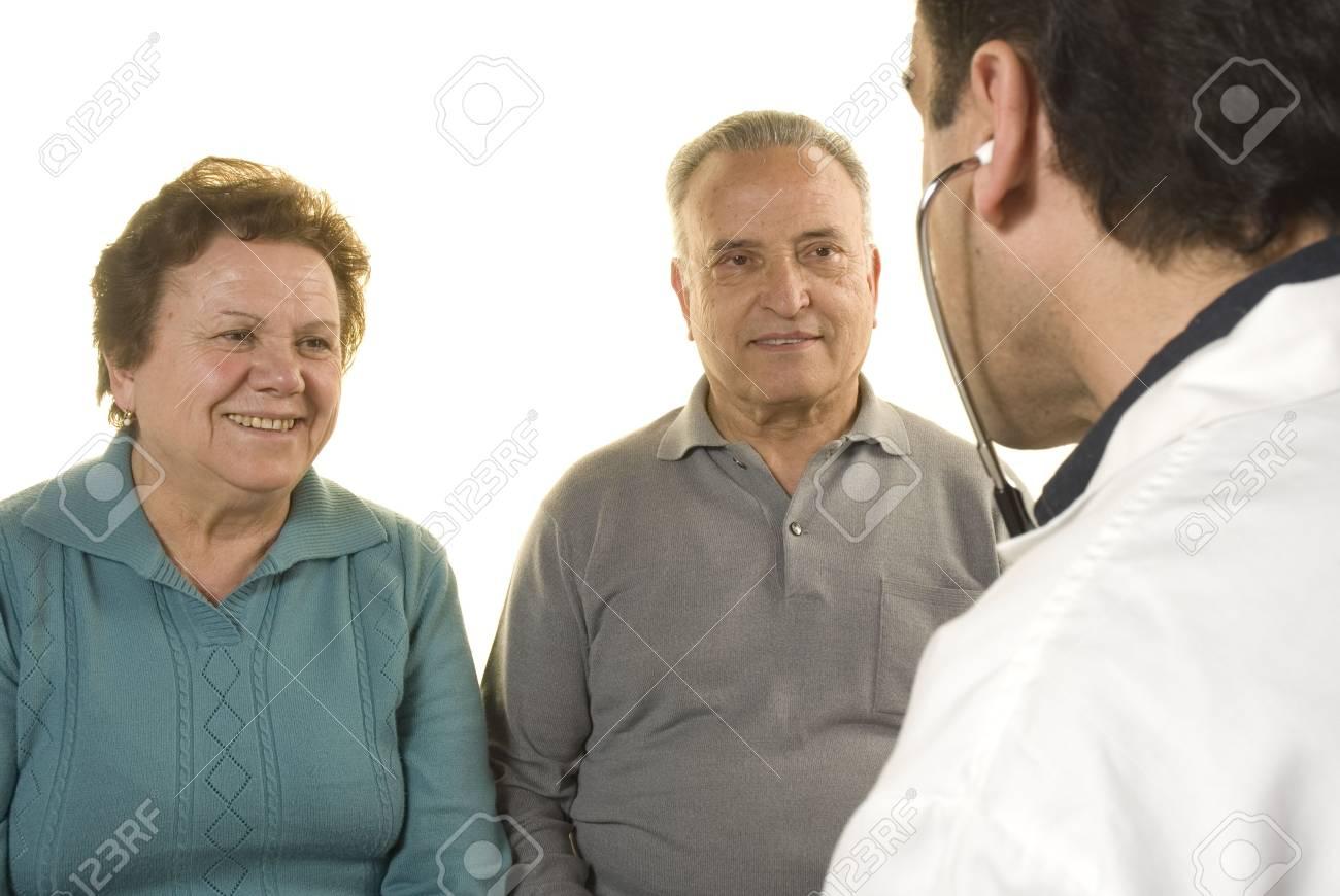 Senior couple at doctor's consultation on white background Stock Photo - 4695731