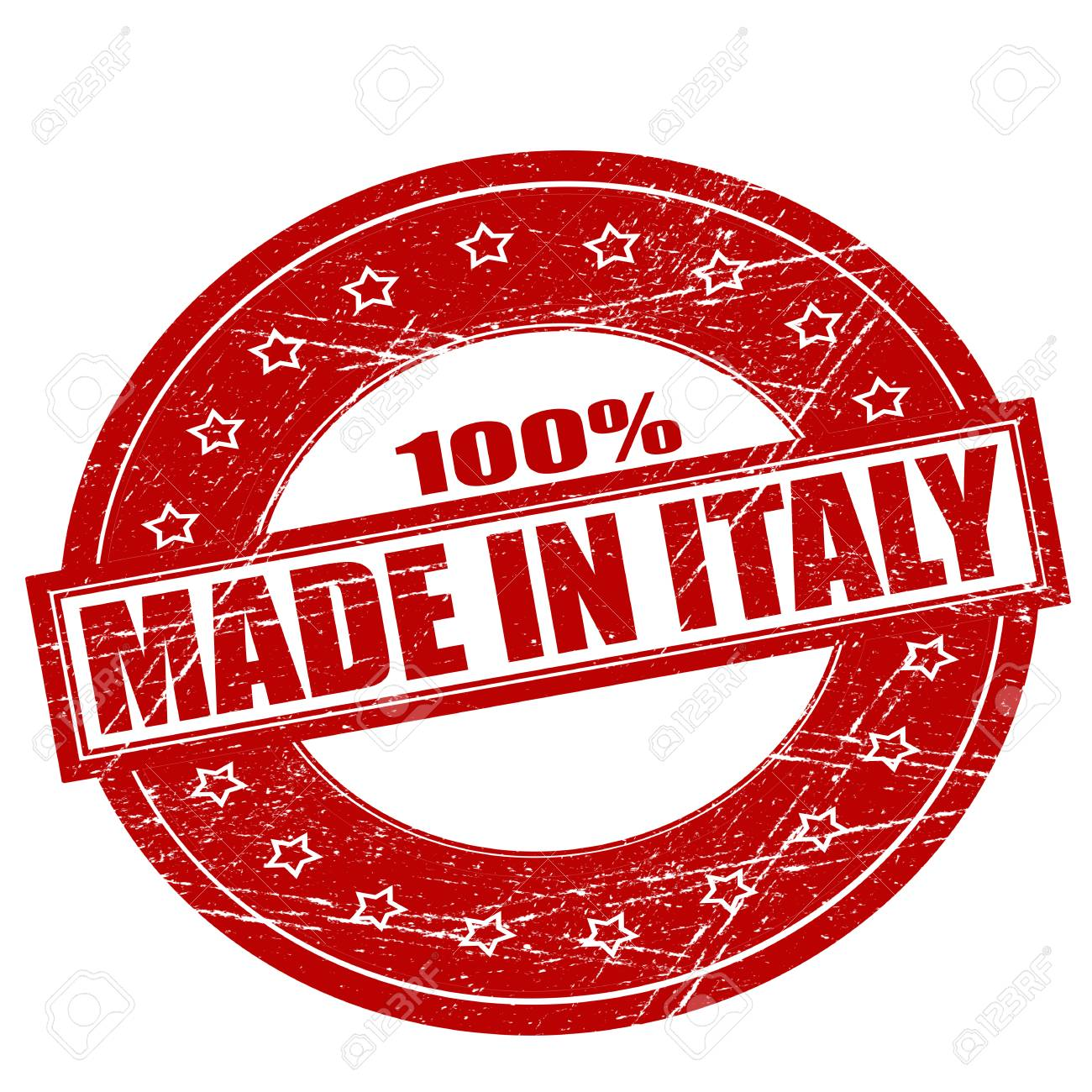 d5a315e3ba Rubber Stamps With Text One Hundred Percent Made In Italy Inside ...