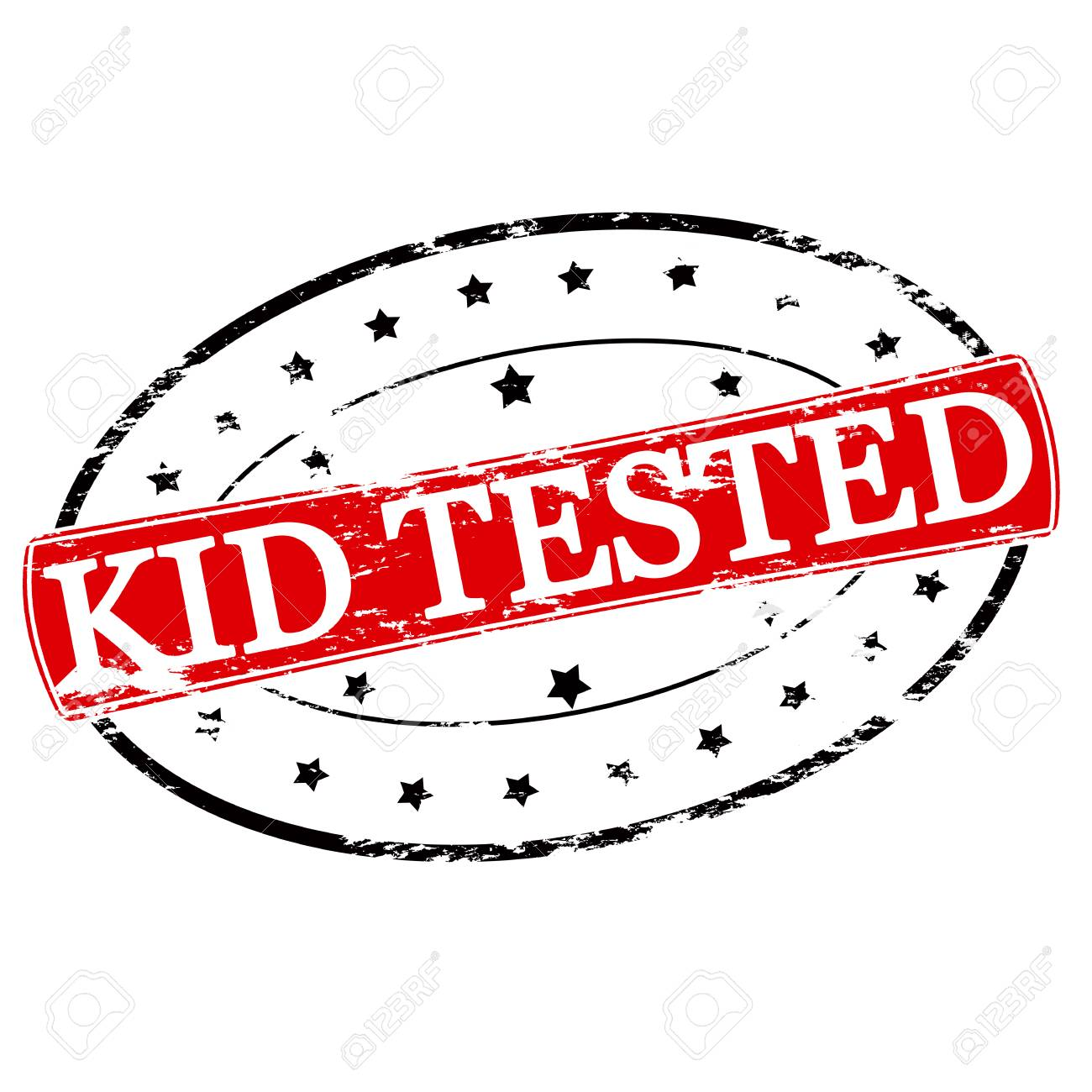 Rubber Stamp With Text Kid Tested Inside Vector Illustration Stock