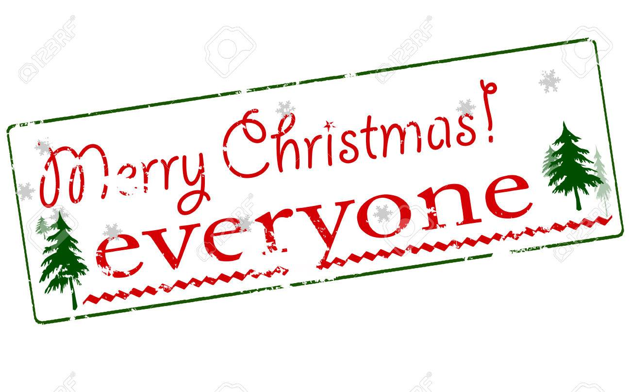 Rubber Stamp With Text Merry Christmas Everyone Inside, Vector ...