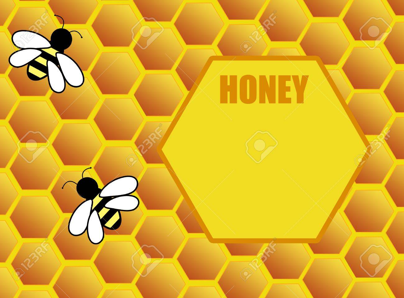 Honeycomb background with bee and space for text, vector illustration Stock Vector - 11359155