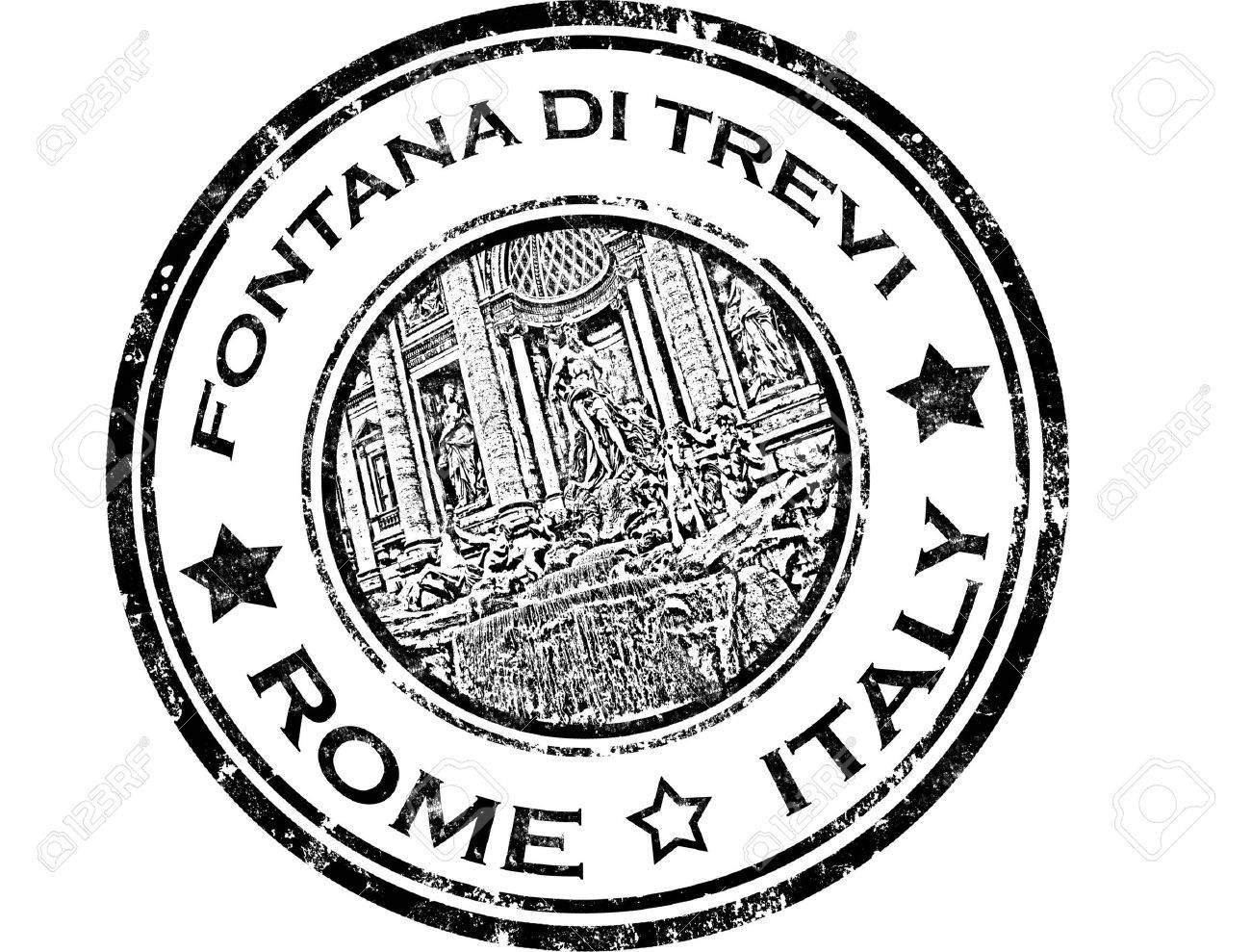 grunge rubber stamp with fontana di trevi and word Rome,Italy - 11359097