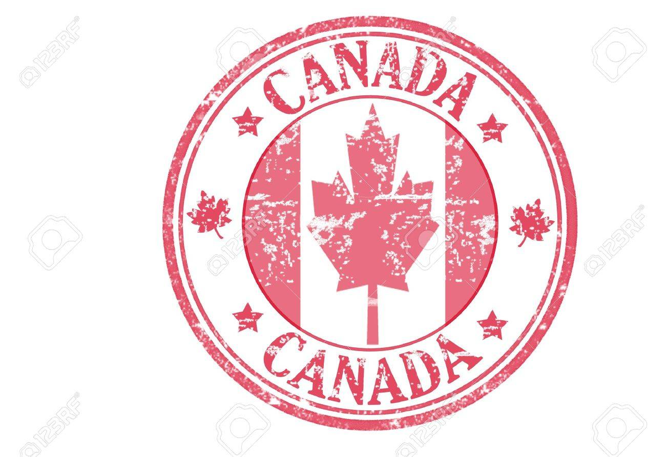 red stamp with the canadian flag and the name of canada royalty