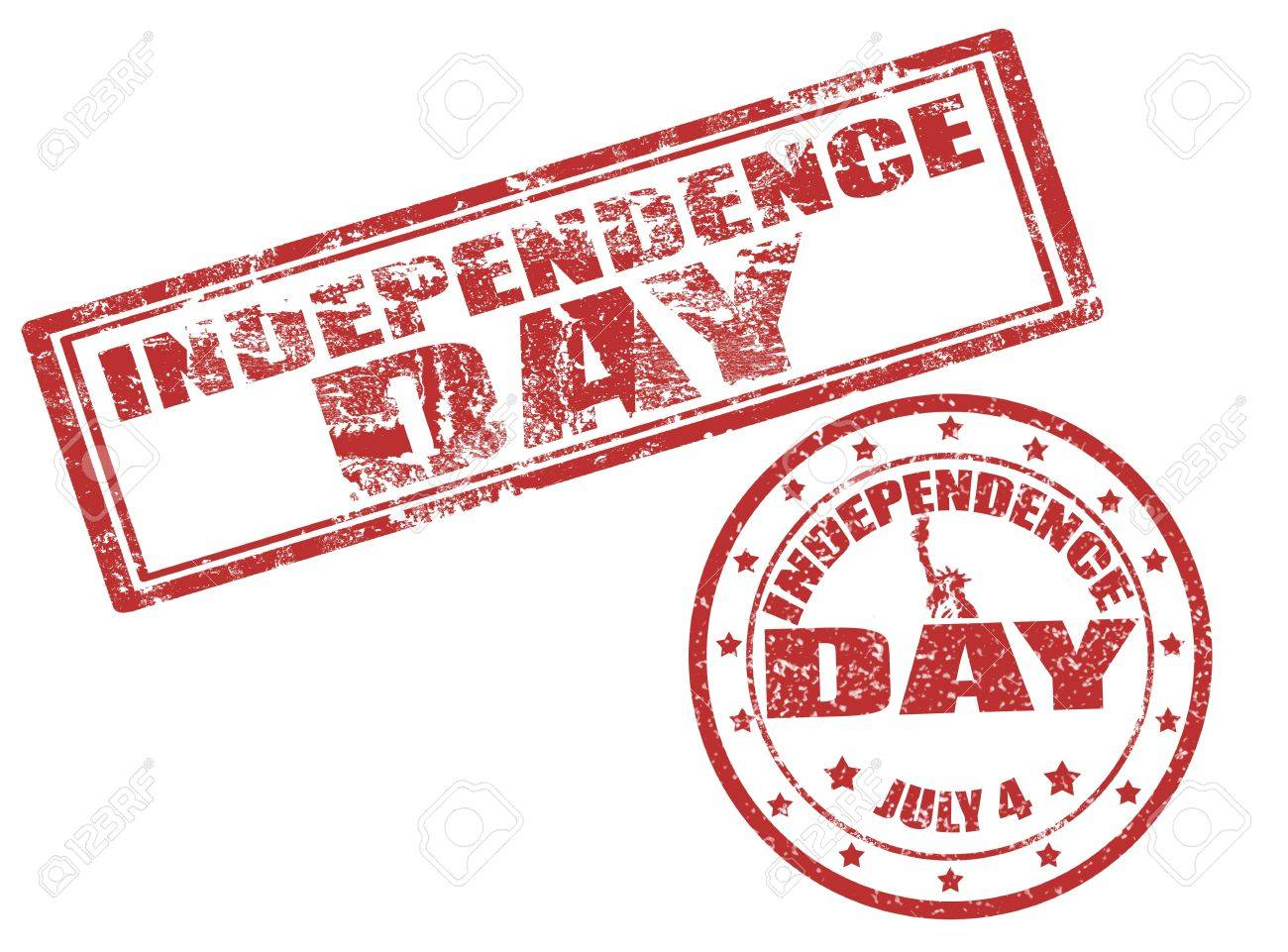 Set of grunge rubber stamp with word Independence day and 4 july Stock Vector - 13589274