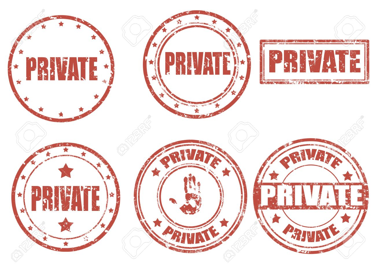 Set of grunge rubber stamps with word privated inside, illustration Stock Vector - 18335451