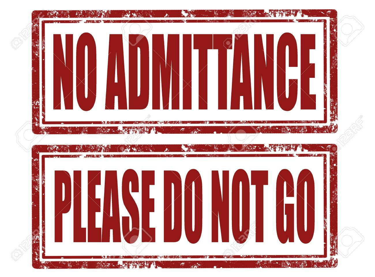 Set of grunge rubber stamps with text no admittance and please do not go Stock Vector - 18937673