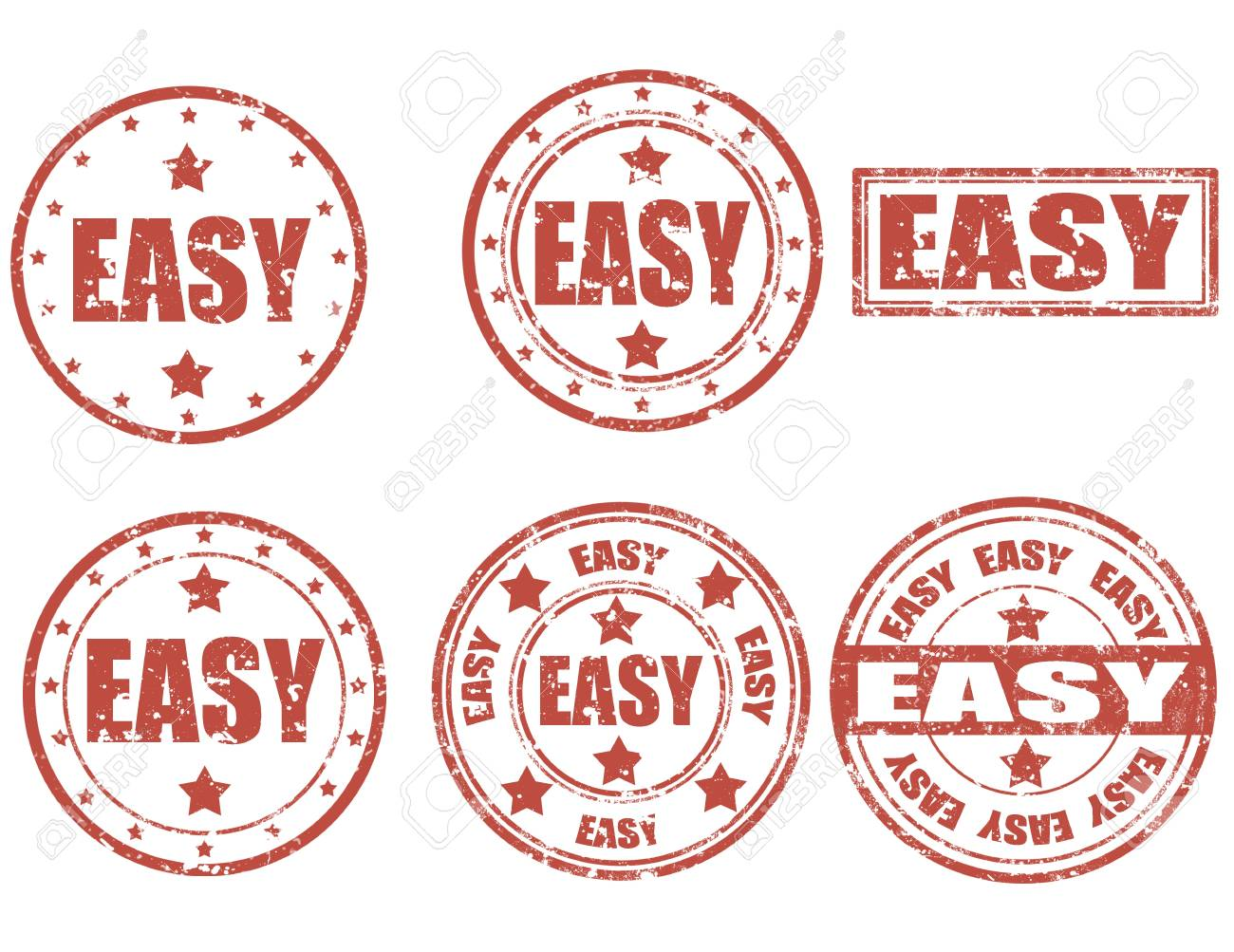 Set of grunge rubber stamps with word Easy inside Stock Vector - 21222048