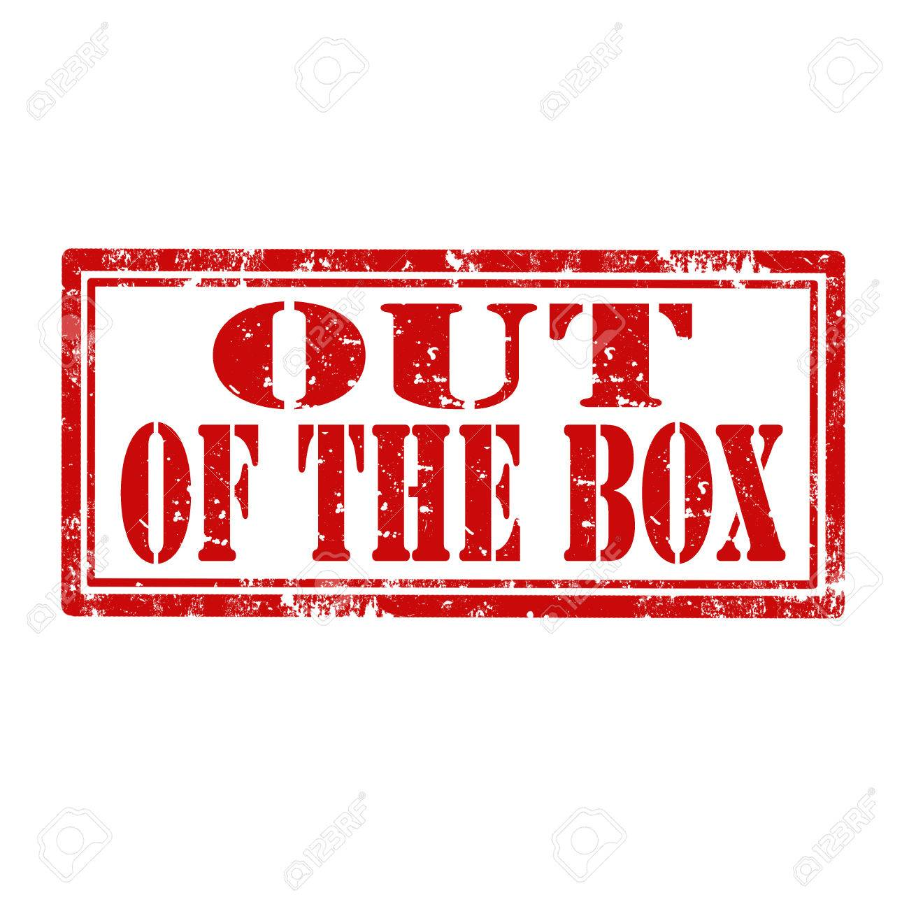 Grunge Rubber Stamp With Text Out Of The Box Stock Vector