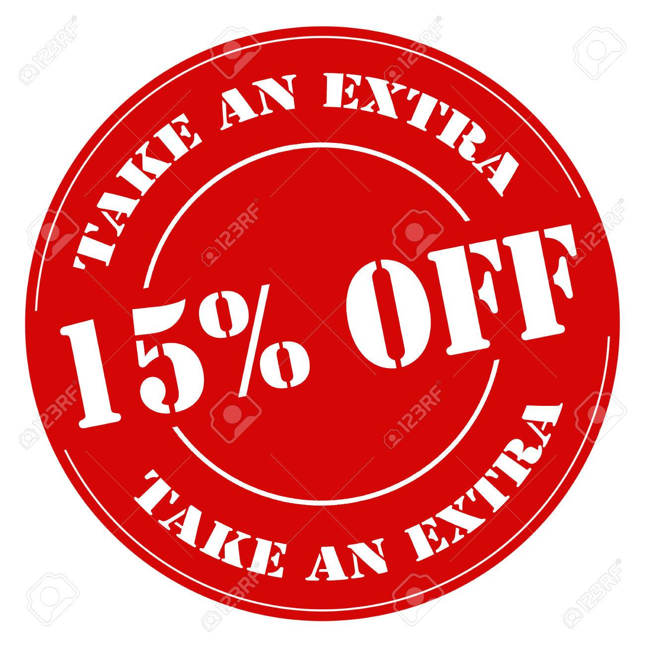Red stamp with text Take An Extra 15% Off,illustration - 39684739