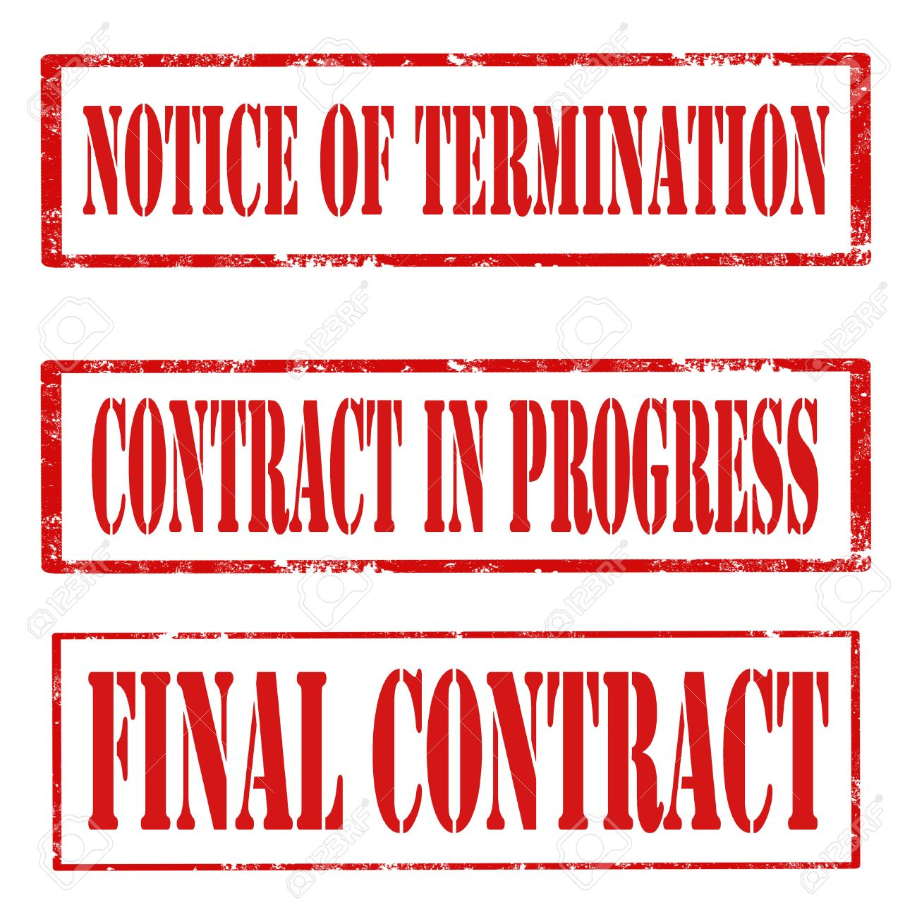 set of grunge rubber stamps text notice of termination set of grunge rubber stamps text notice of termination contract in progress and final