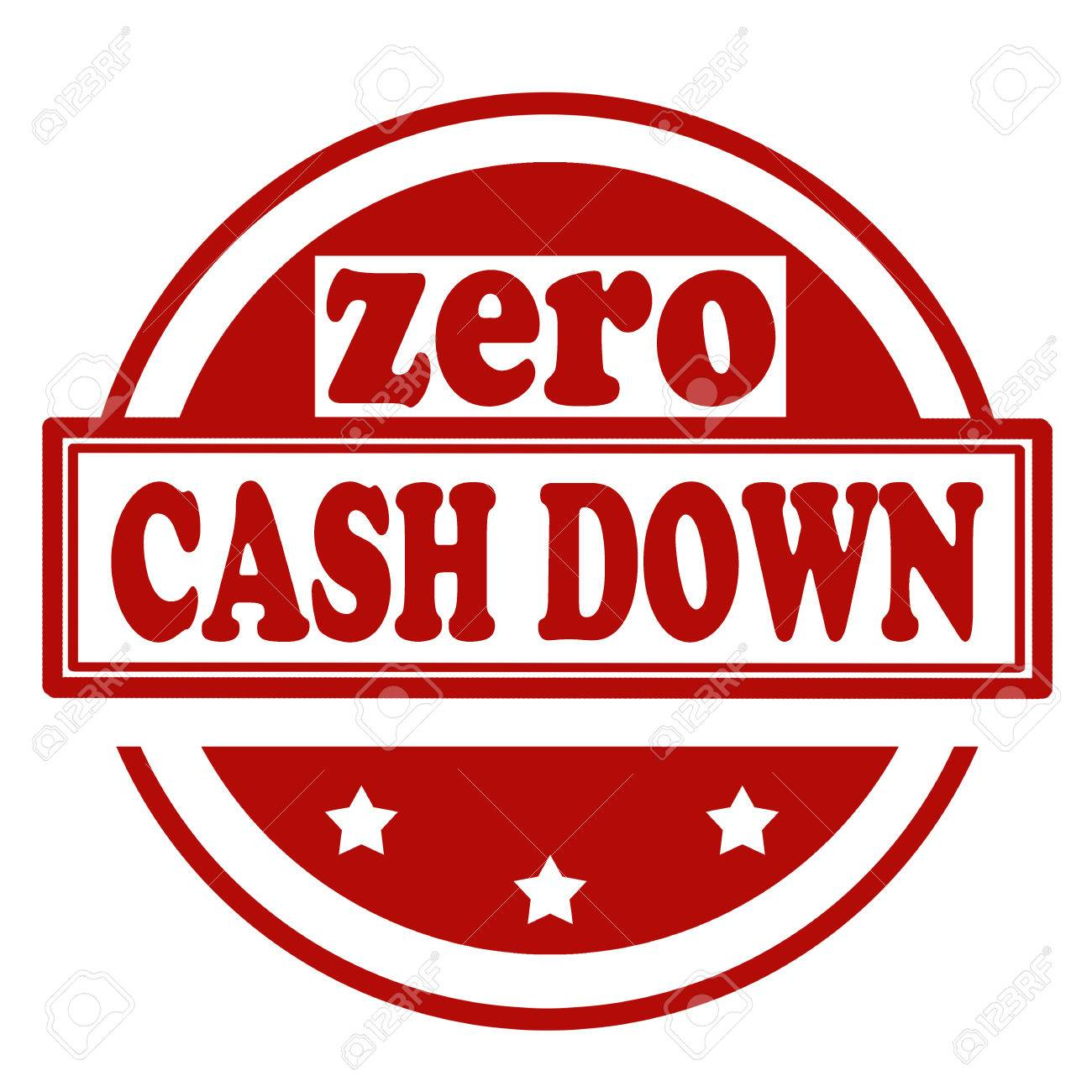 Red stamp with text Zero Cash Down - 59037367