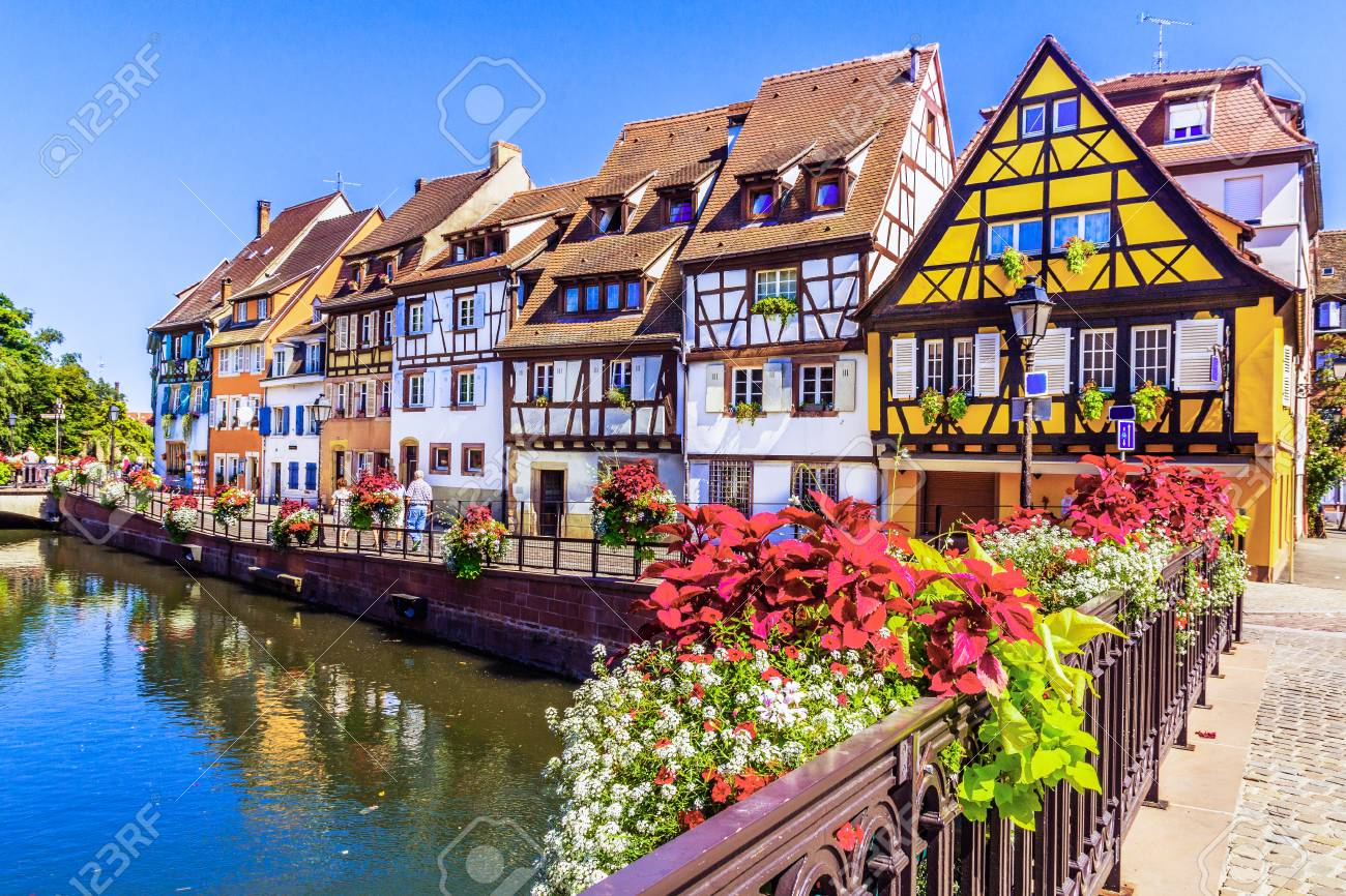 Elsass Karte Colmar.Colmar Alsace France Petit Venice Water Canal And Traditional