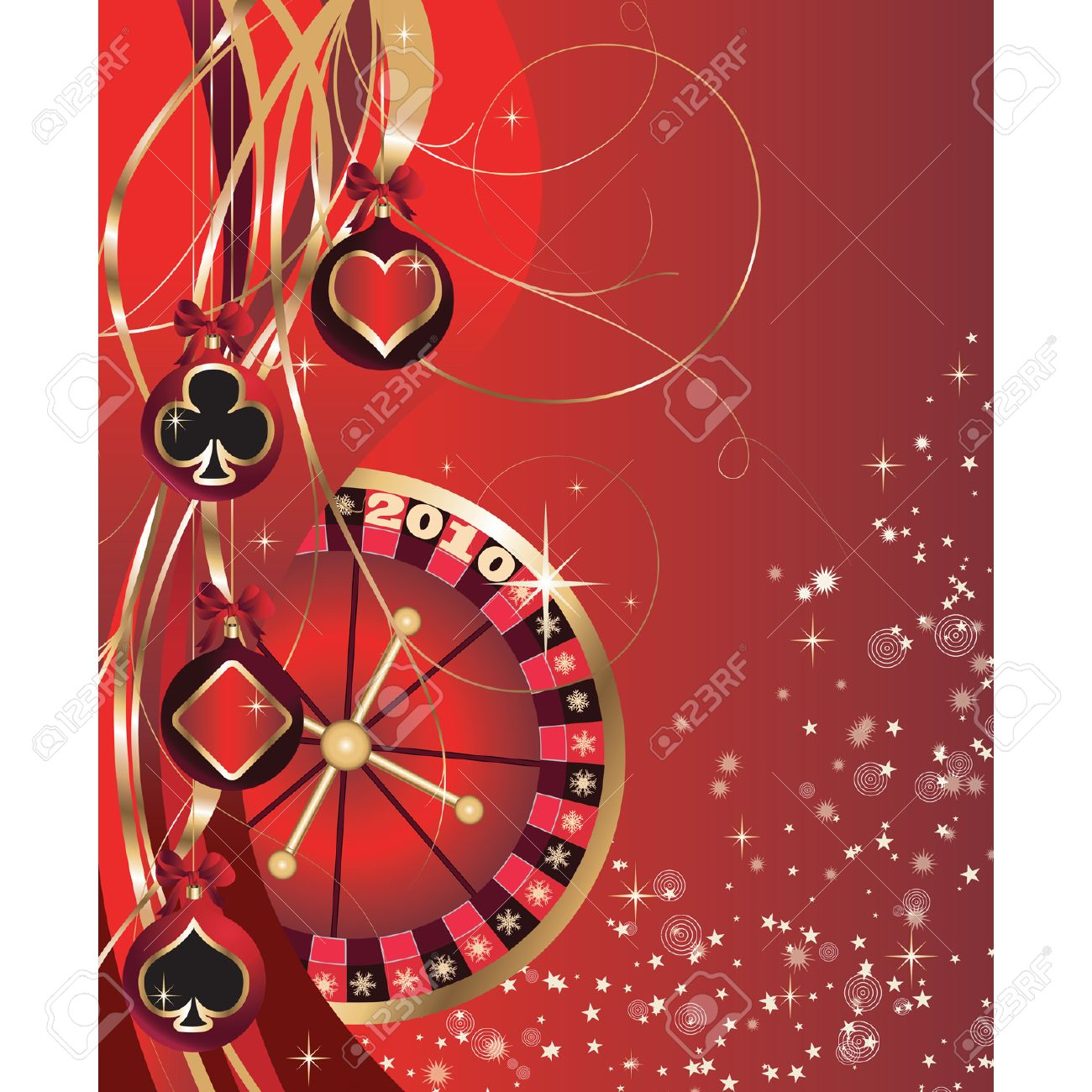 Christmas card with casino elements, poker, New Year's spheres.  vector. Stock Vector - 5613195