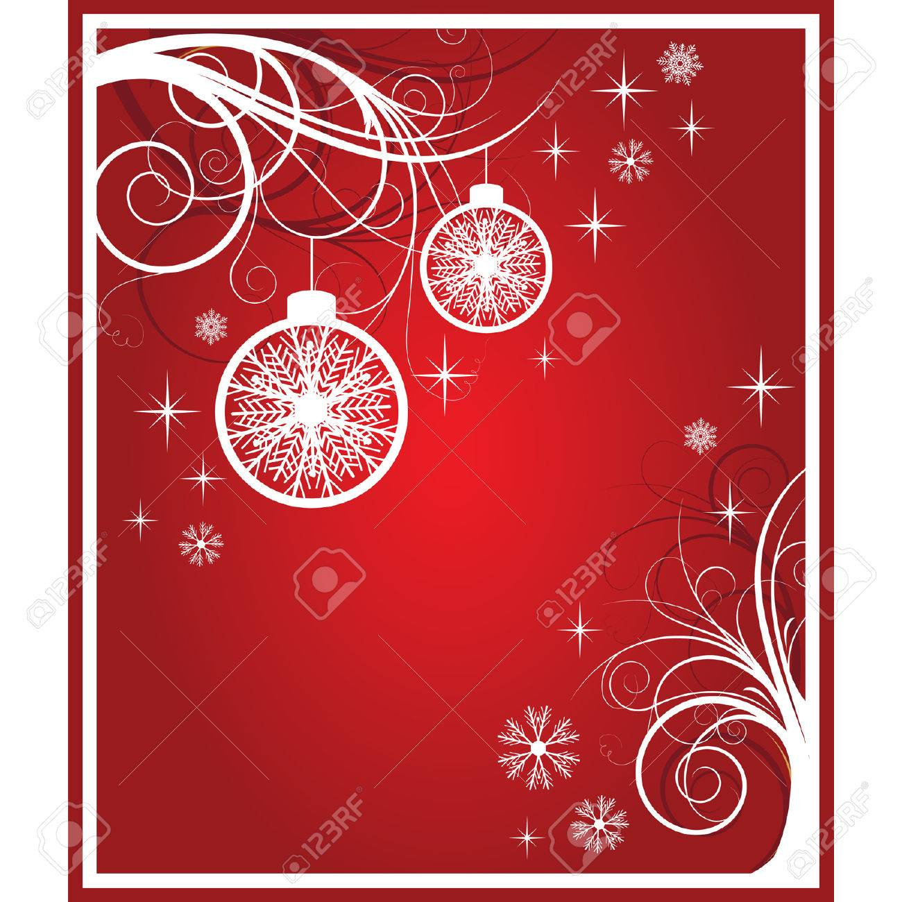 white and red christmas card. vector - 5913525