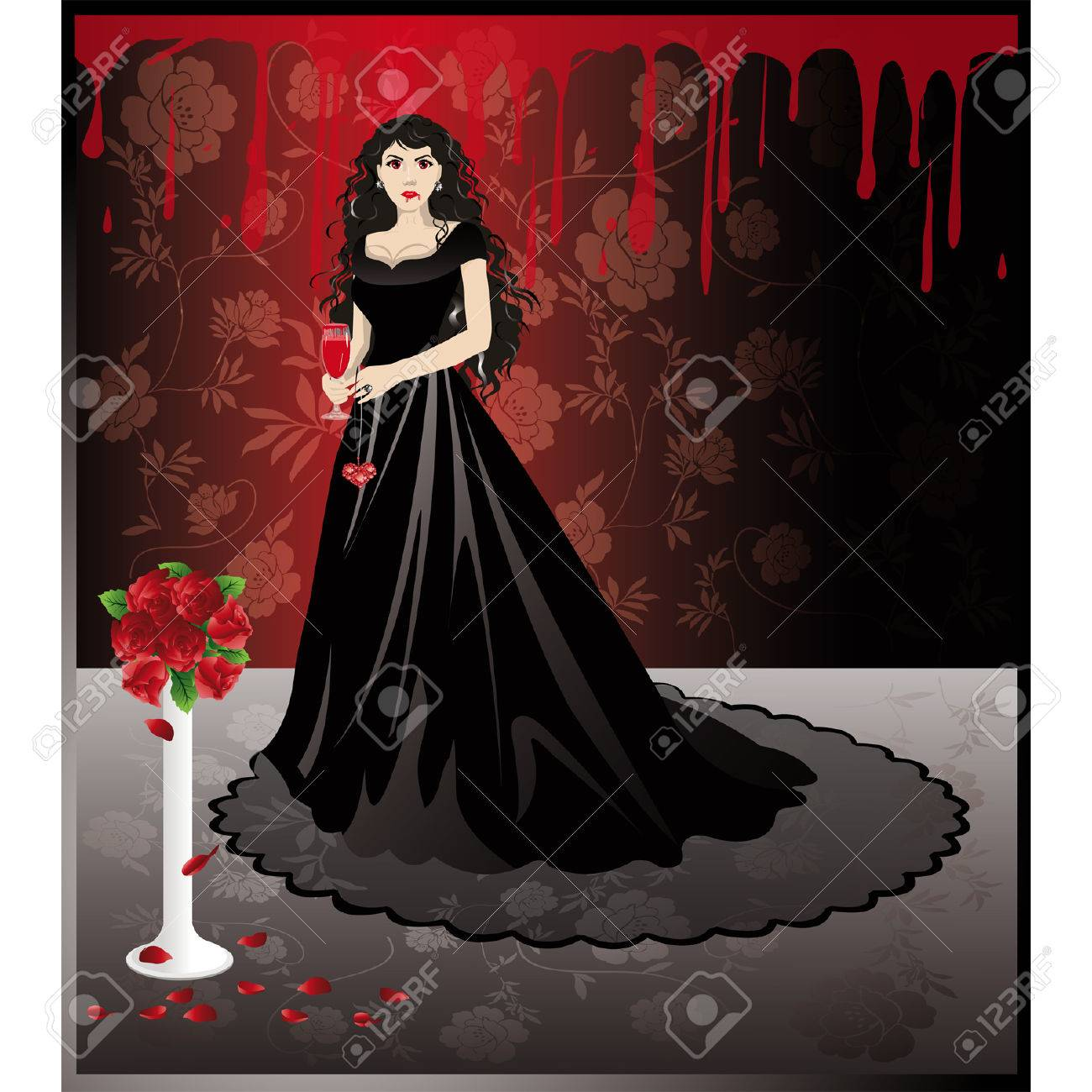 Beautiful girl vampire with a blood glass. vector Stock Vector - 6410276