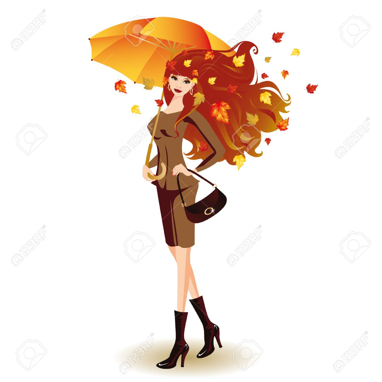 Autumn fashion woman with umbrella Stock Vector - 7474733