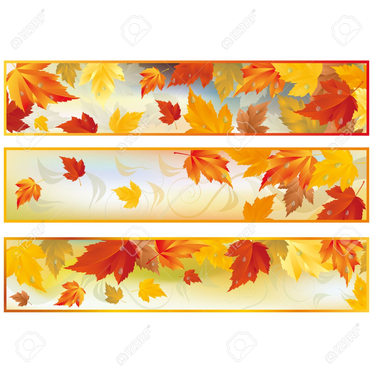 Set autumn banners Stock Vector - 7587423