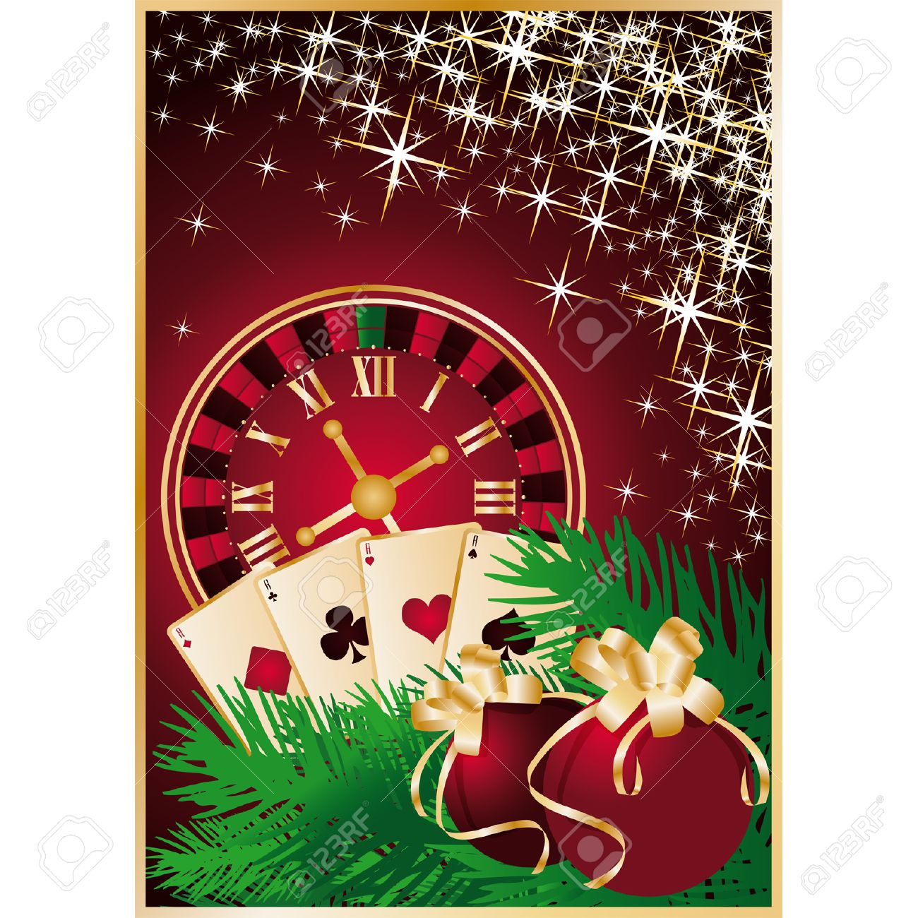 Casino Christmas greeting card with roulette-clock Stock Vector - 7999475