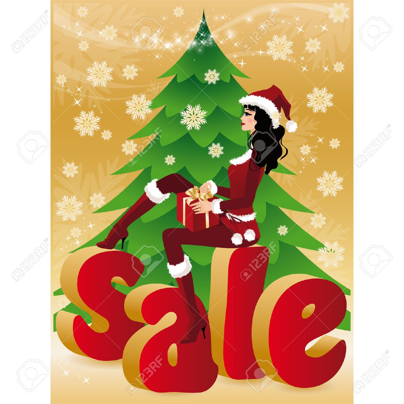 Christmas sale card. Santa-girl with gift. illustration. Stock Vector - 8032197