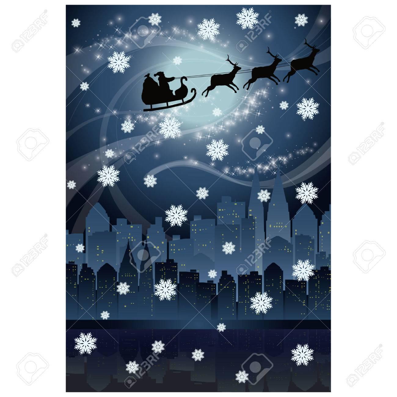 Urban holiday card with Santa claus Stock Vector - 8128627