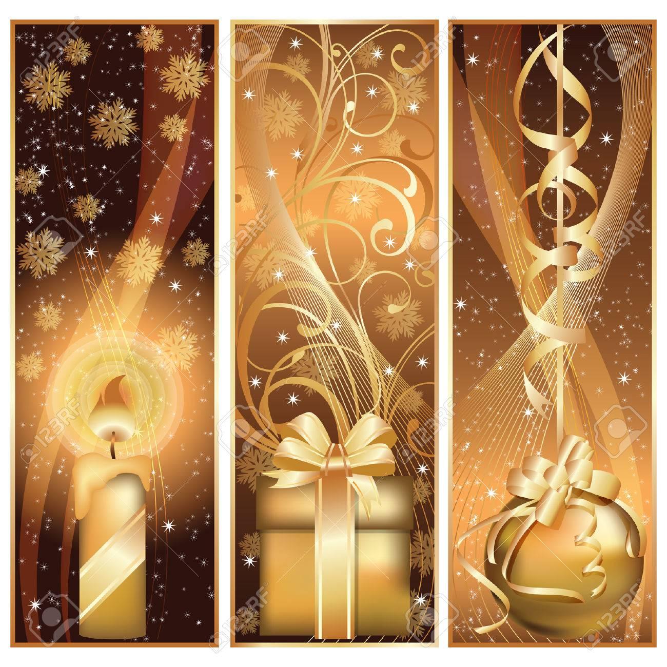 Set golden christmas banner.  illustration Stock Vector - 8304737