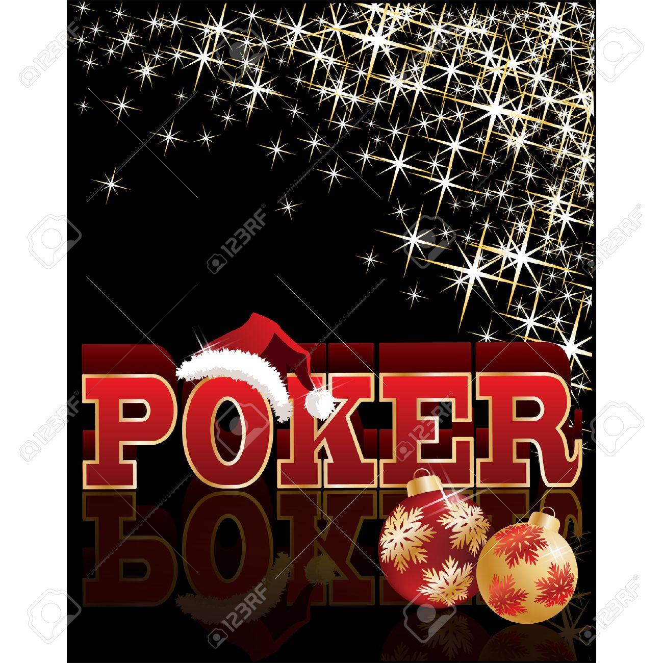 Christmas poker banner with santa hat. vector illustration Stock Vector - 8370777