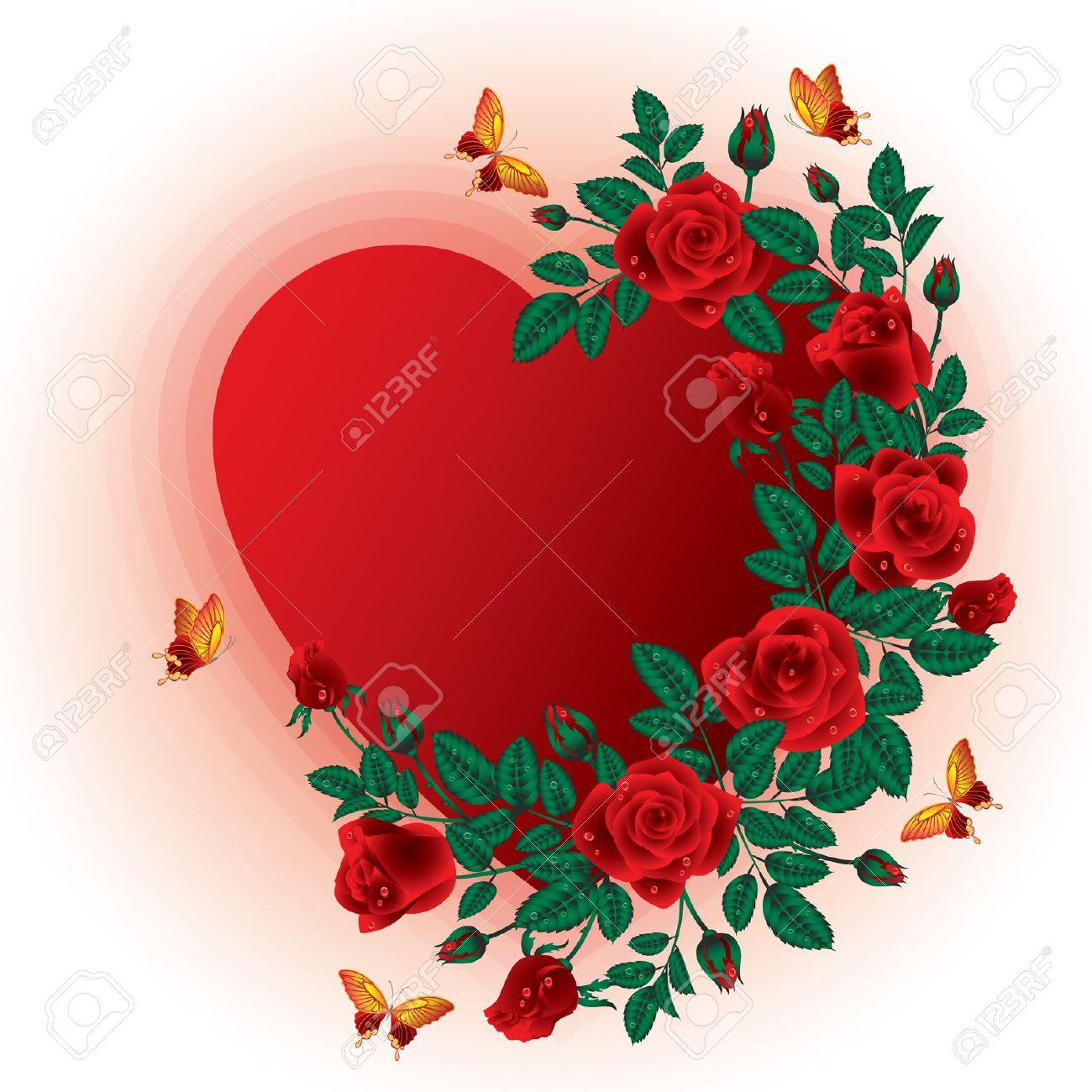 Love Card Roses Heart Frame Vector Illustration Royalty Free