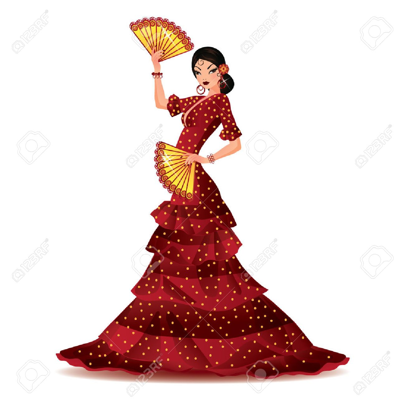 Spanish girl with two fans dances a flamenco, vector illustration Stock Vector - 8781956