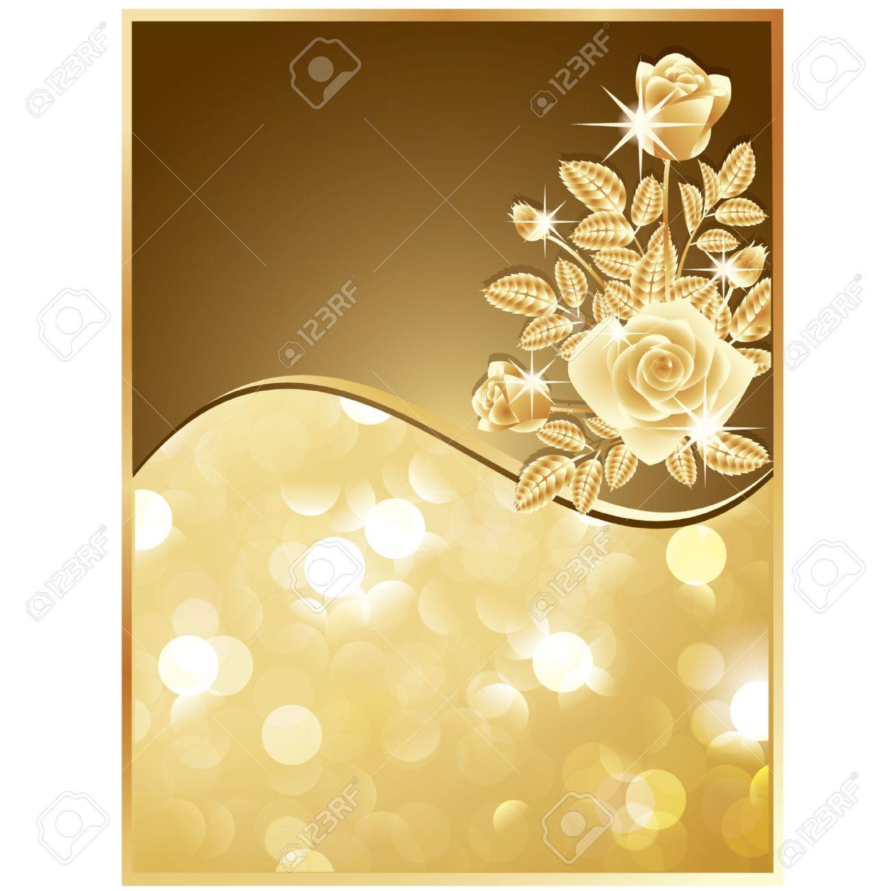 5f3dcddb4606 Invitation card with golden roses. vector illustration Stock Vector -  8781965
