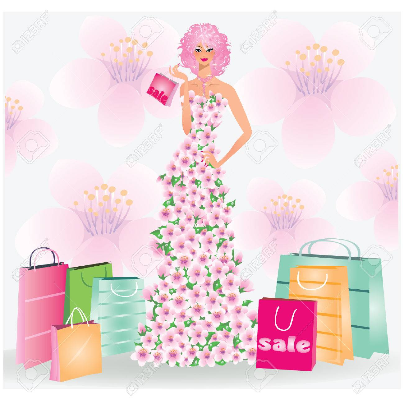 Spring sale girl. vector illustration Stock Vector - 8781973