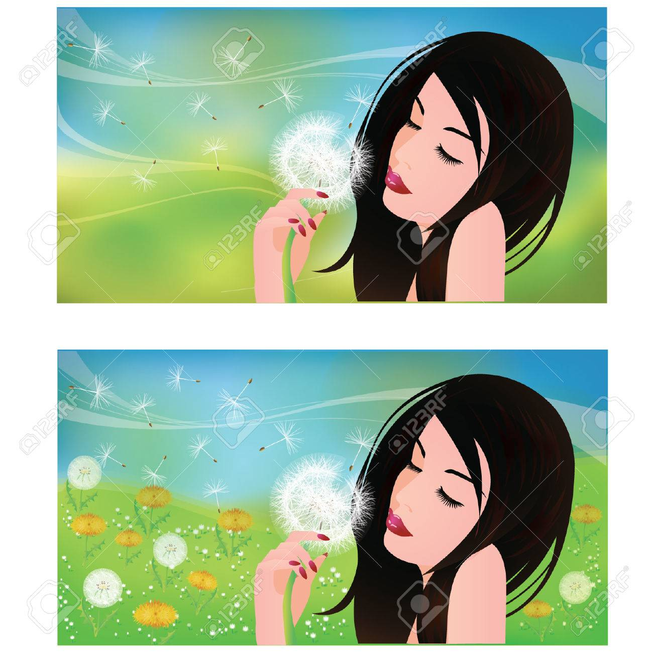 Spring banners, Girl with a Dandelion Stock Vector - 8889042