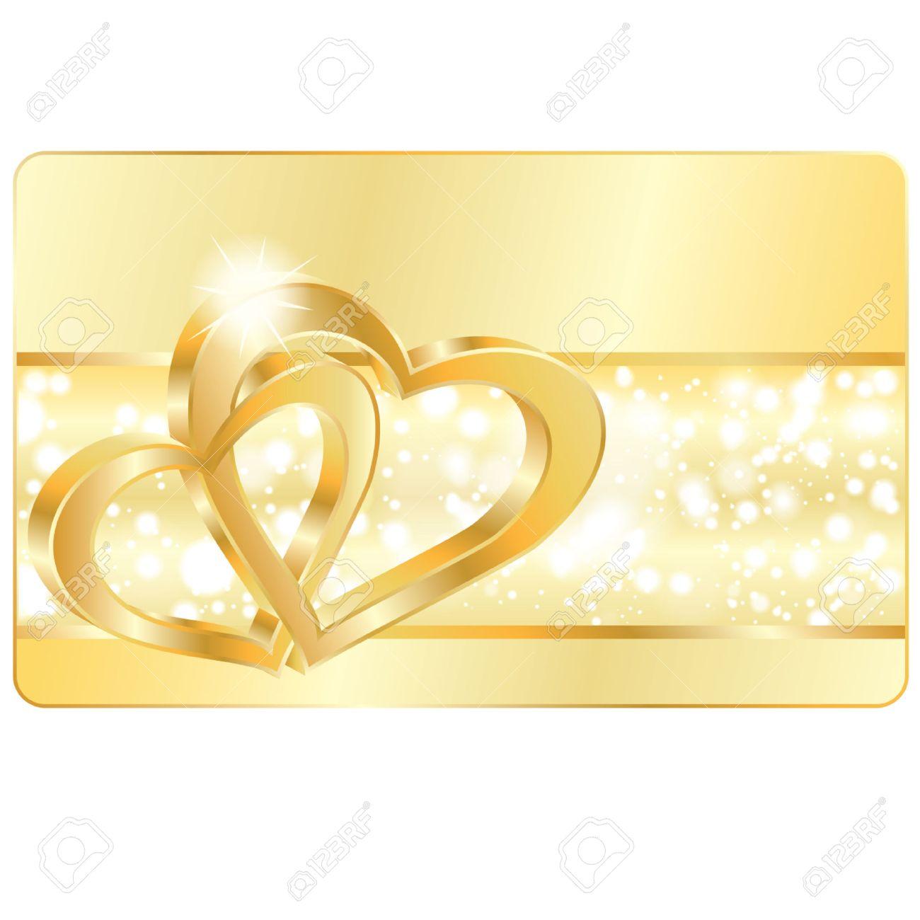 joyas de oro Tarjeta con anillos de boda corazón, ilustración vectorial de amor Vectores
