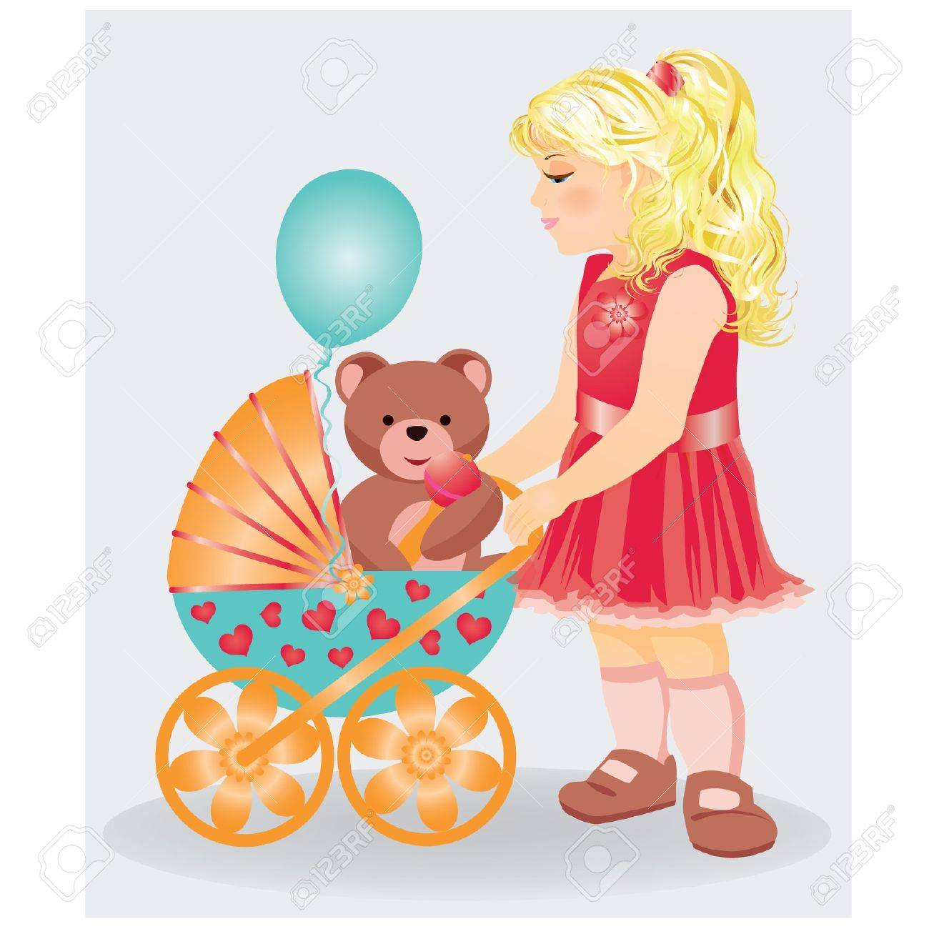 Beautiful little girl with a taddy bear and baby parm, vector illustration Stock Vector - 9303992