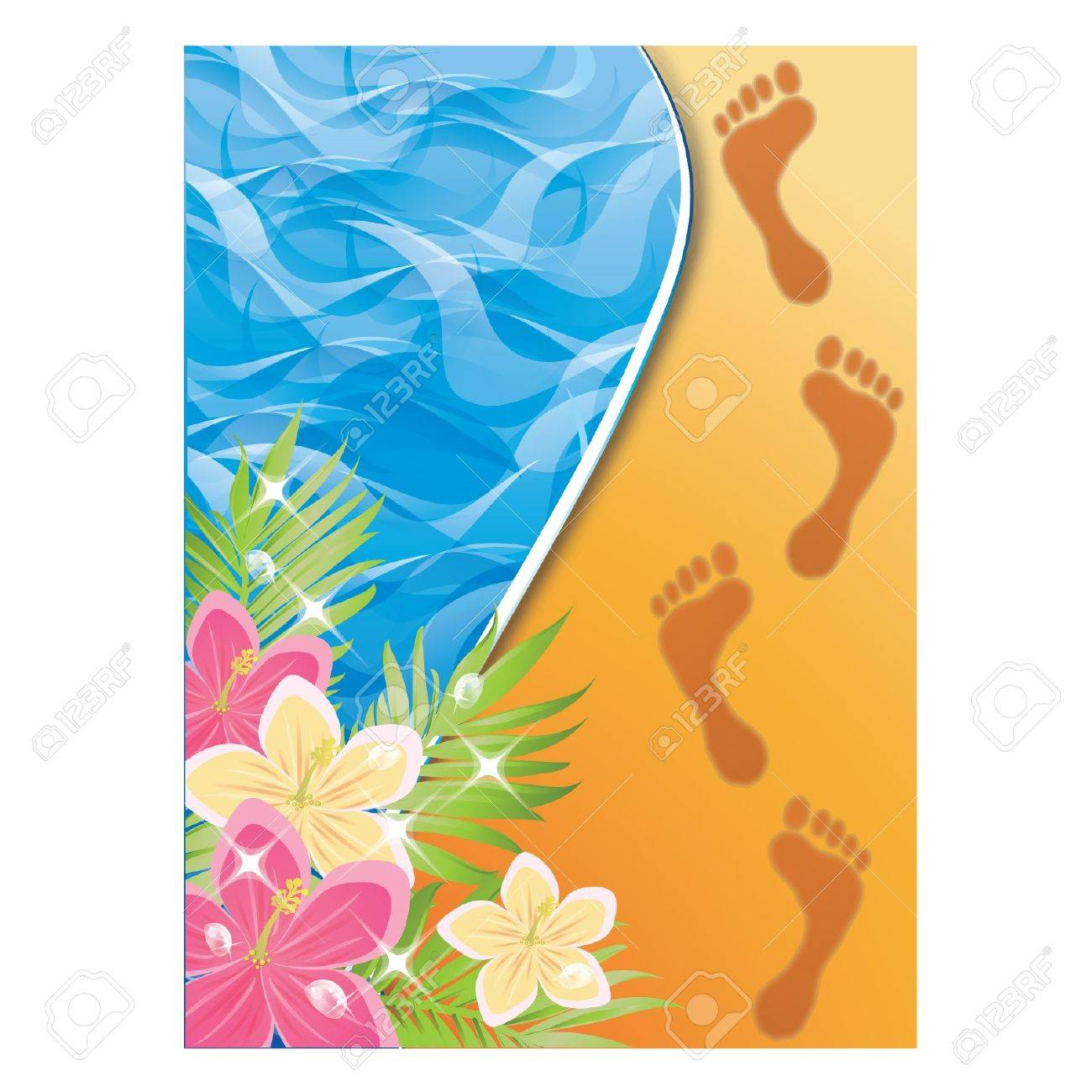 Summer Time Card Footprints In The Sand Vector Illustration
