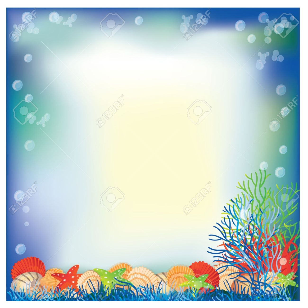 Underwater Frame With White Space For Text Vector Illustration