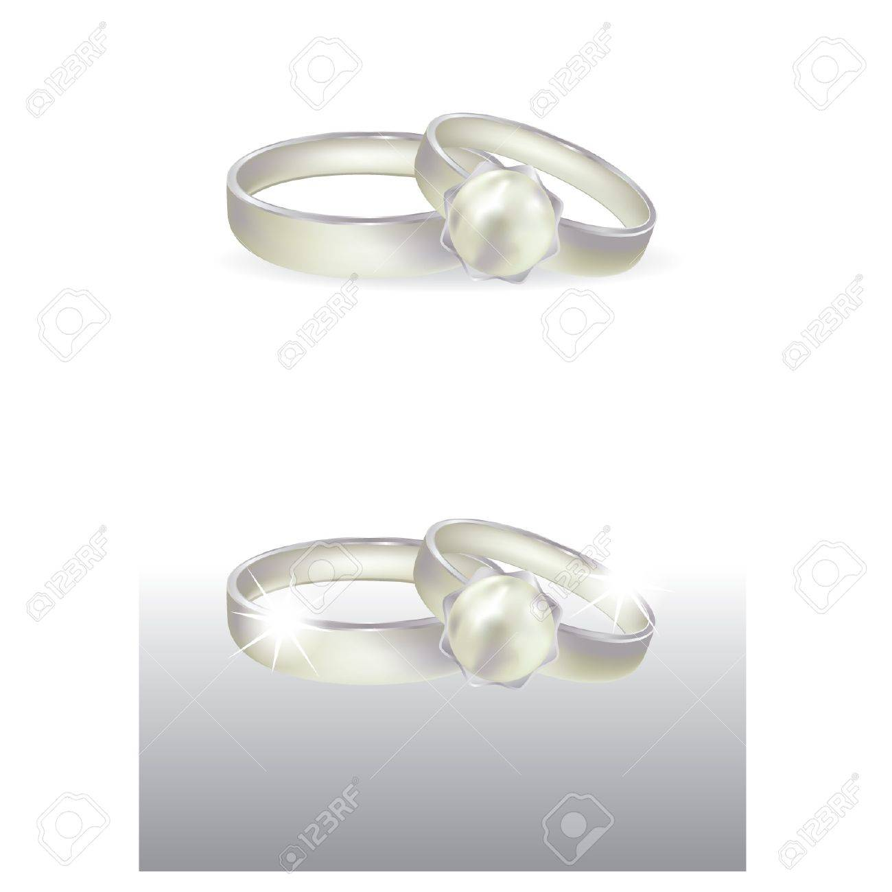 Wedding platinum ring with pearl, vector illustration Stock Vector - 9491776