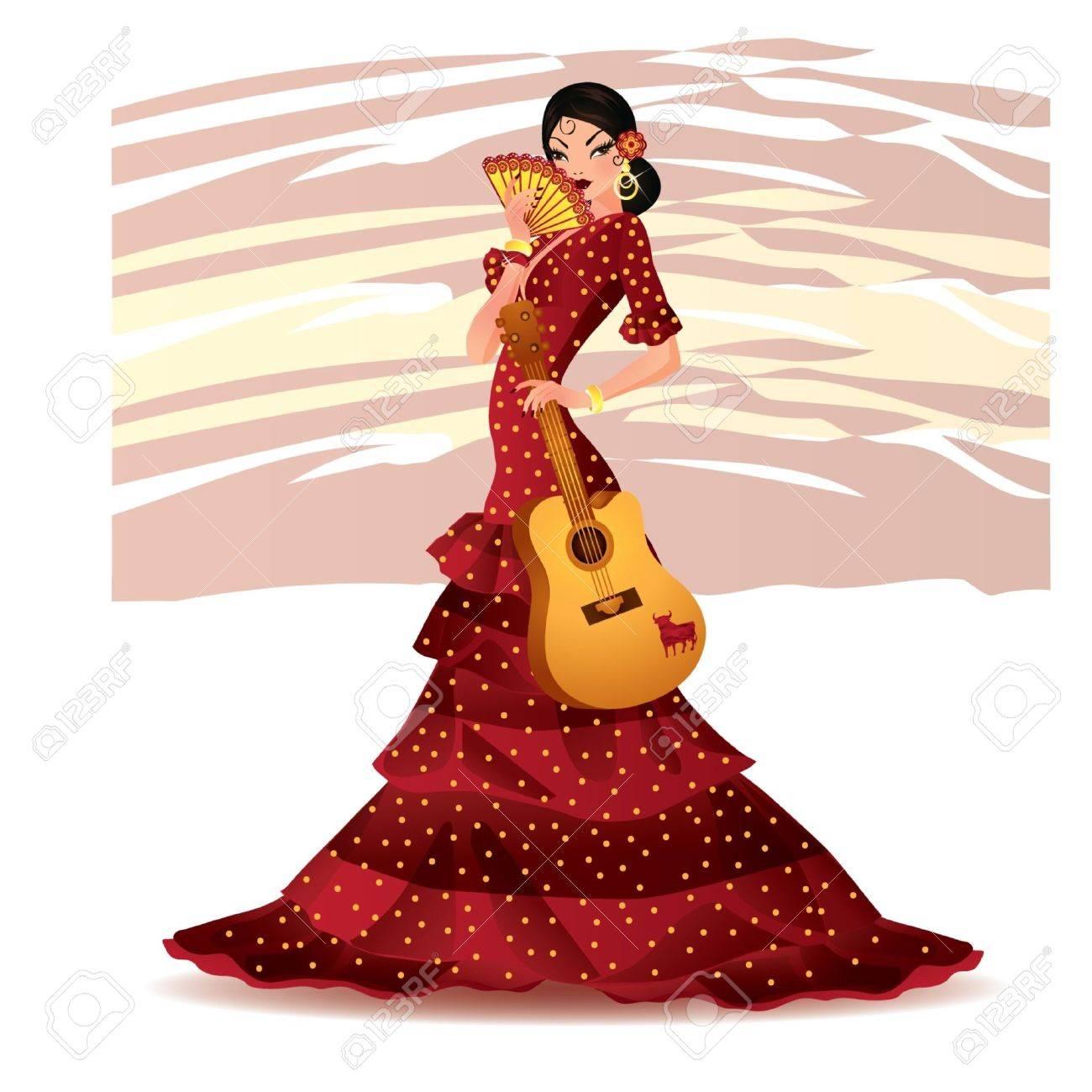Beautiful Spanish girl with guitar Stock Vector - 9804527