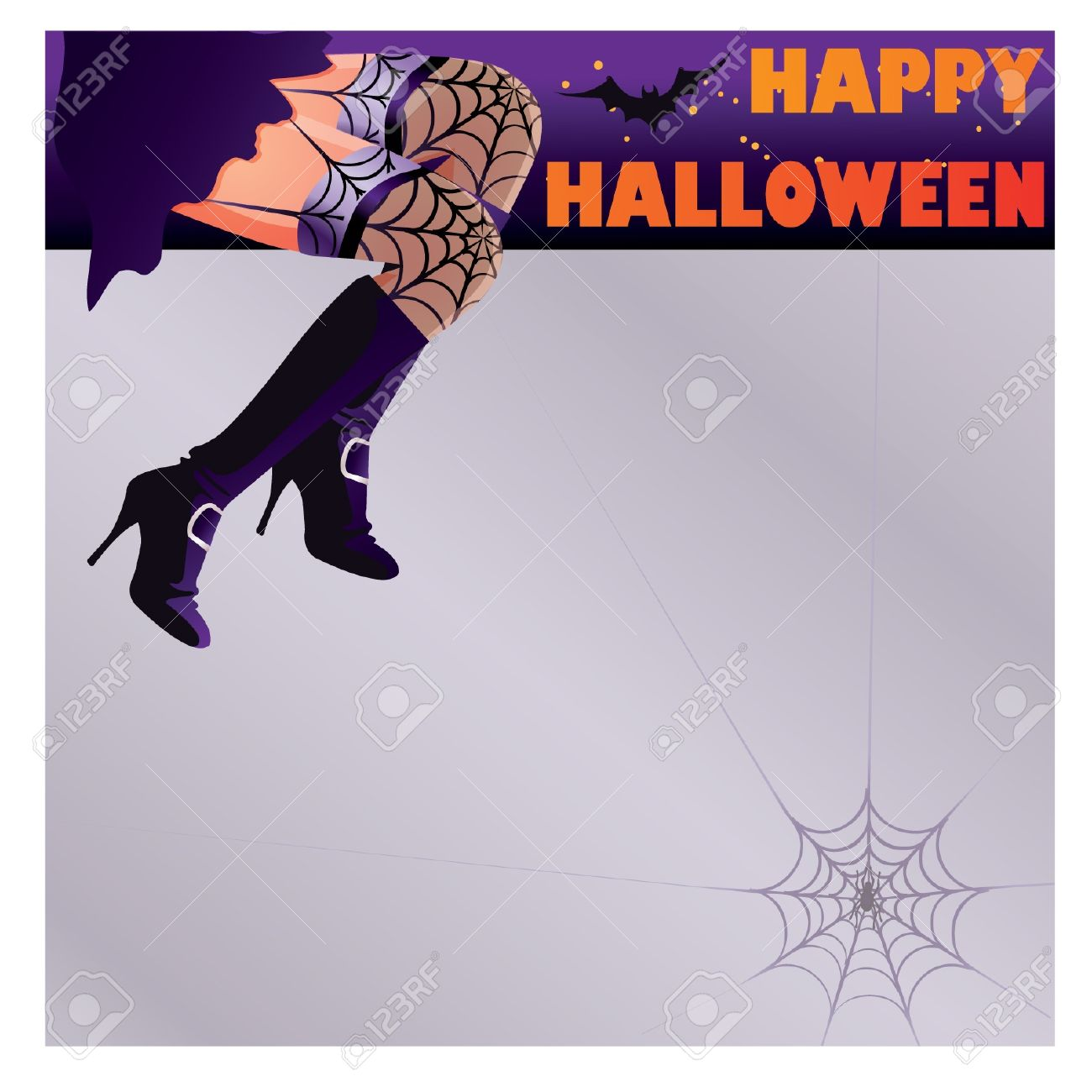 happy halloween card with woman witch legs royalty free