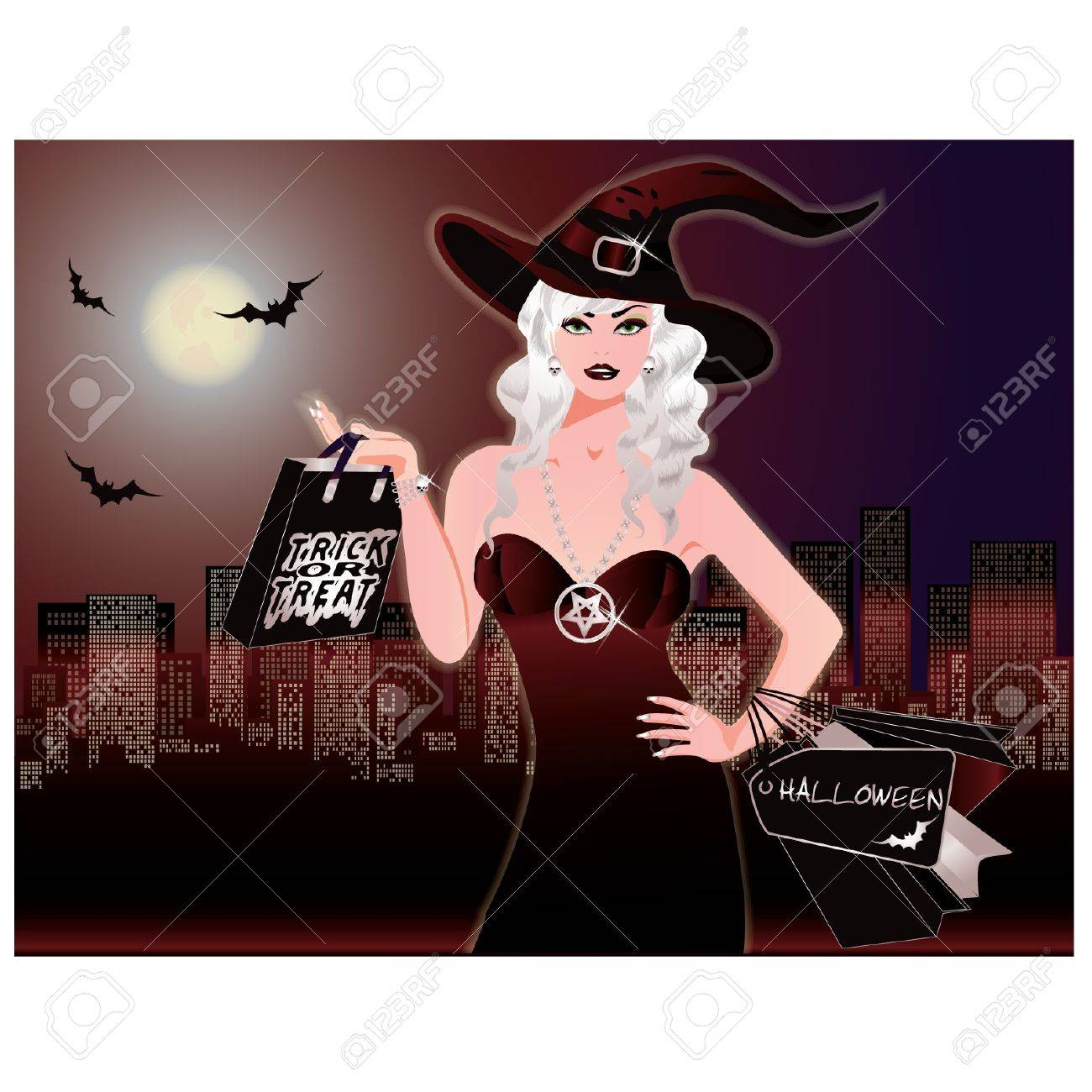 Halloween night shopping Stock Vector - 10337982