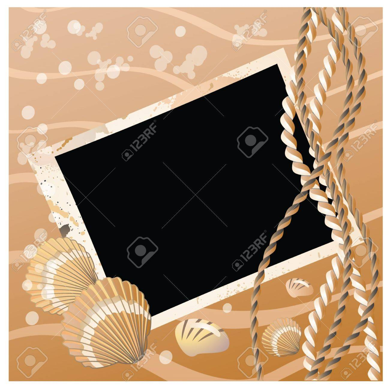 Photo frame with seashell illustration Stock Vector - 10367355