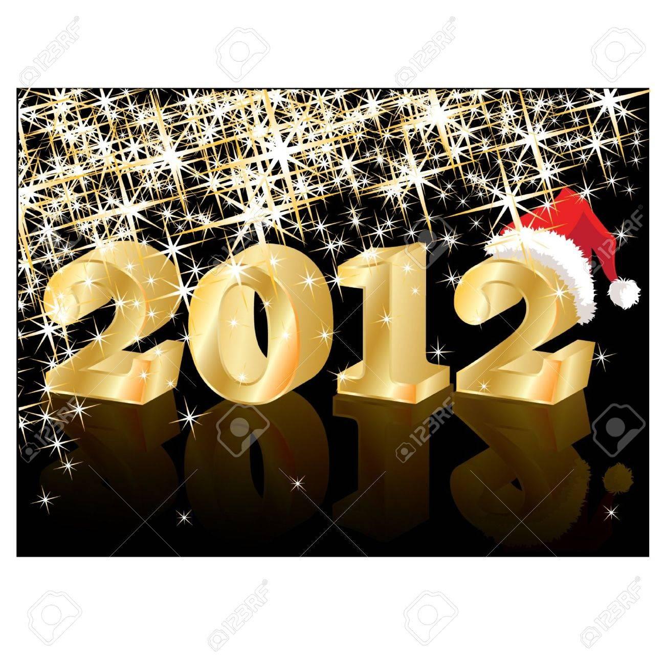 Christmas Greeting Crad, Golden New Year 2012, vector illustration Stock Vector - 10505017