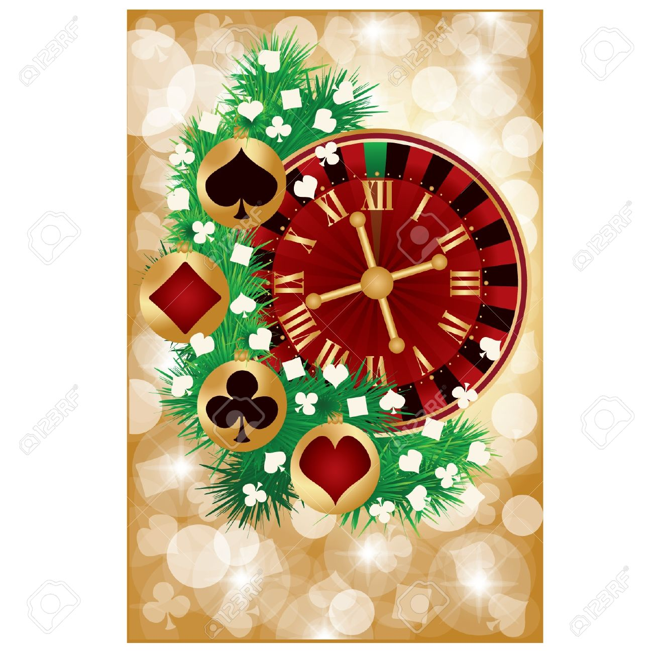 Casino Christmas Greeting Card Vector Illustration Royalty Free