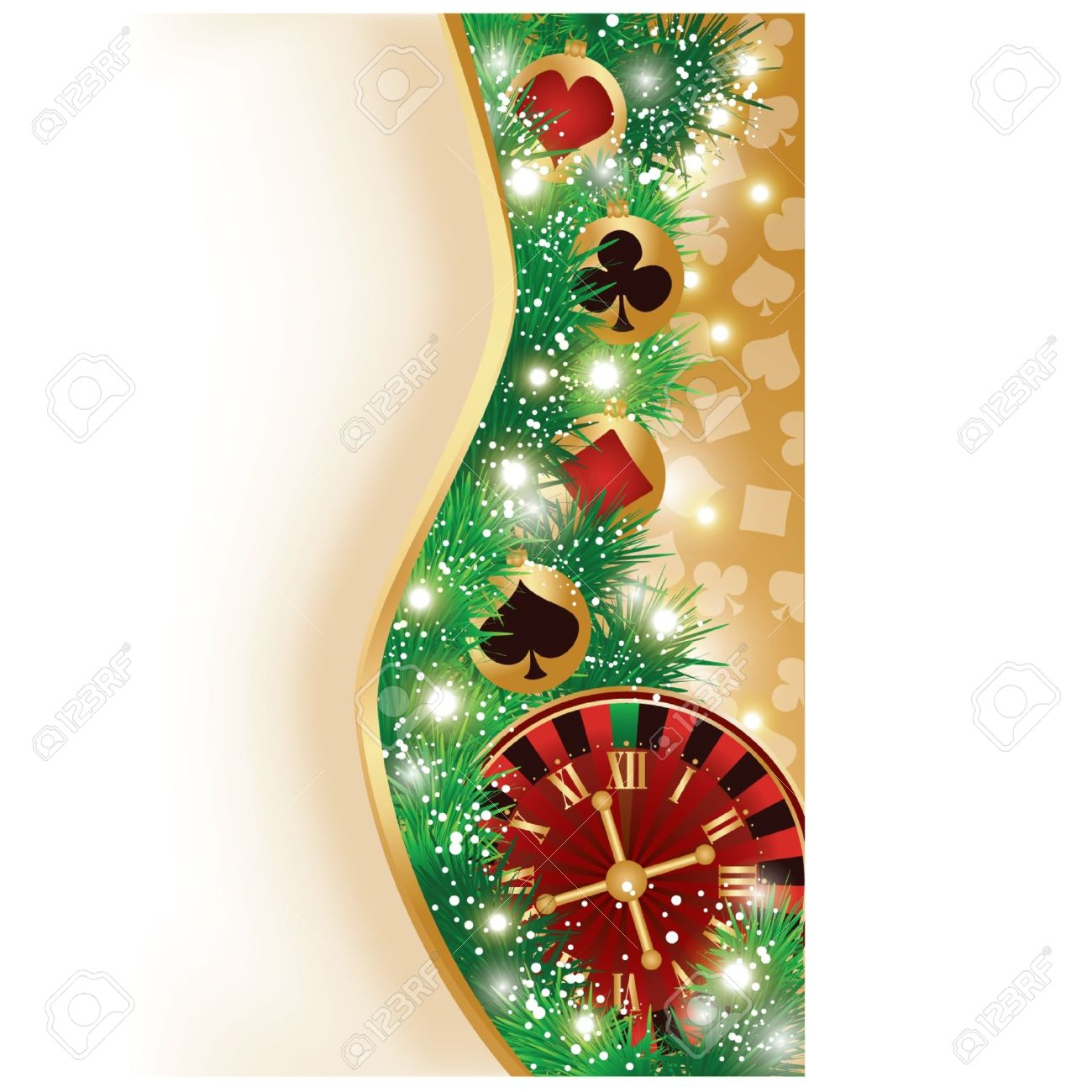 Casino Christmas banner with poker elements, vector illustration Stock Vector - 11437806