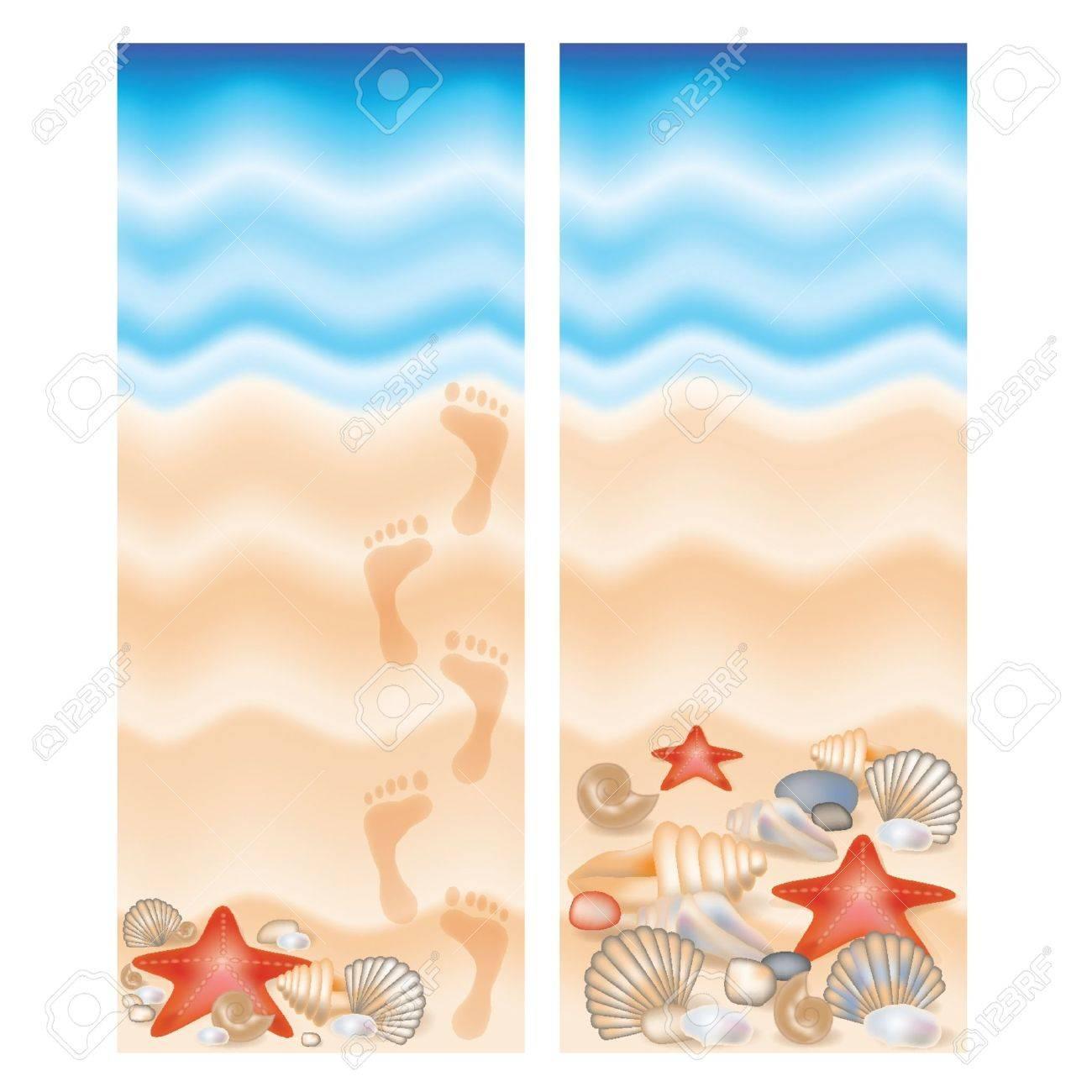 beach scene clipart border. two summer banner stock vector 13230217 beach border scene clipart