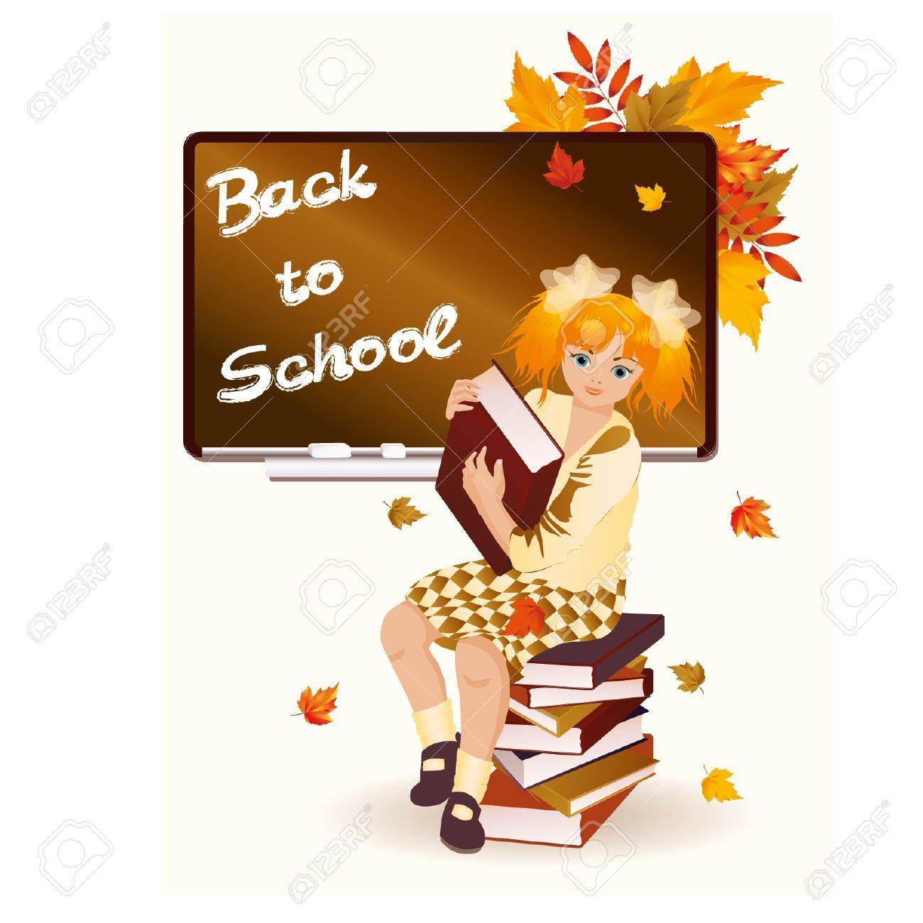 Back to school  Young schoolgirl with books  illustration Stock Vector - 14733385