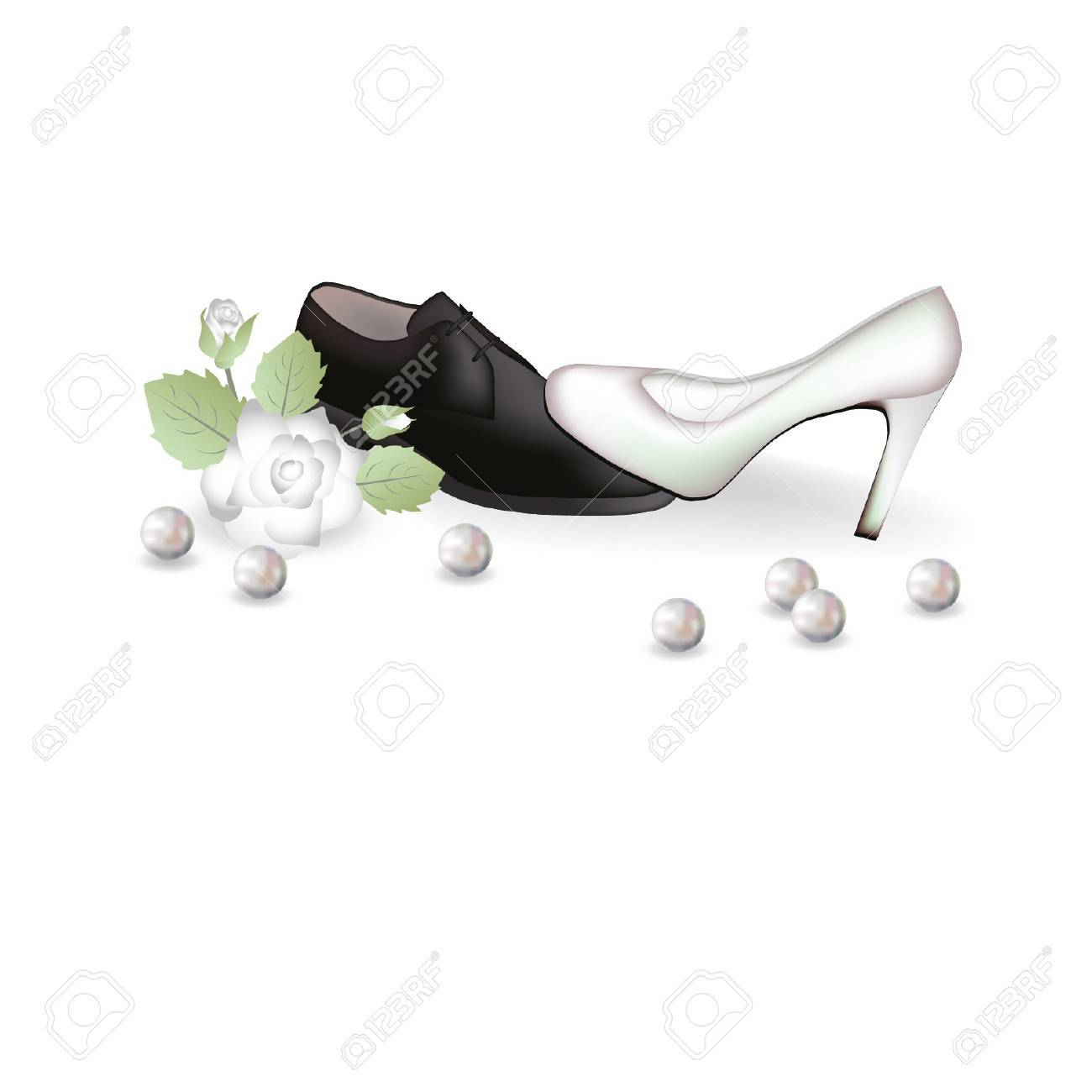 Wedding shoes and a rose  illustration Stock Vector - 14733405