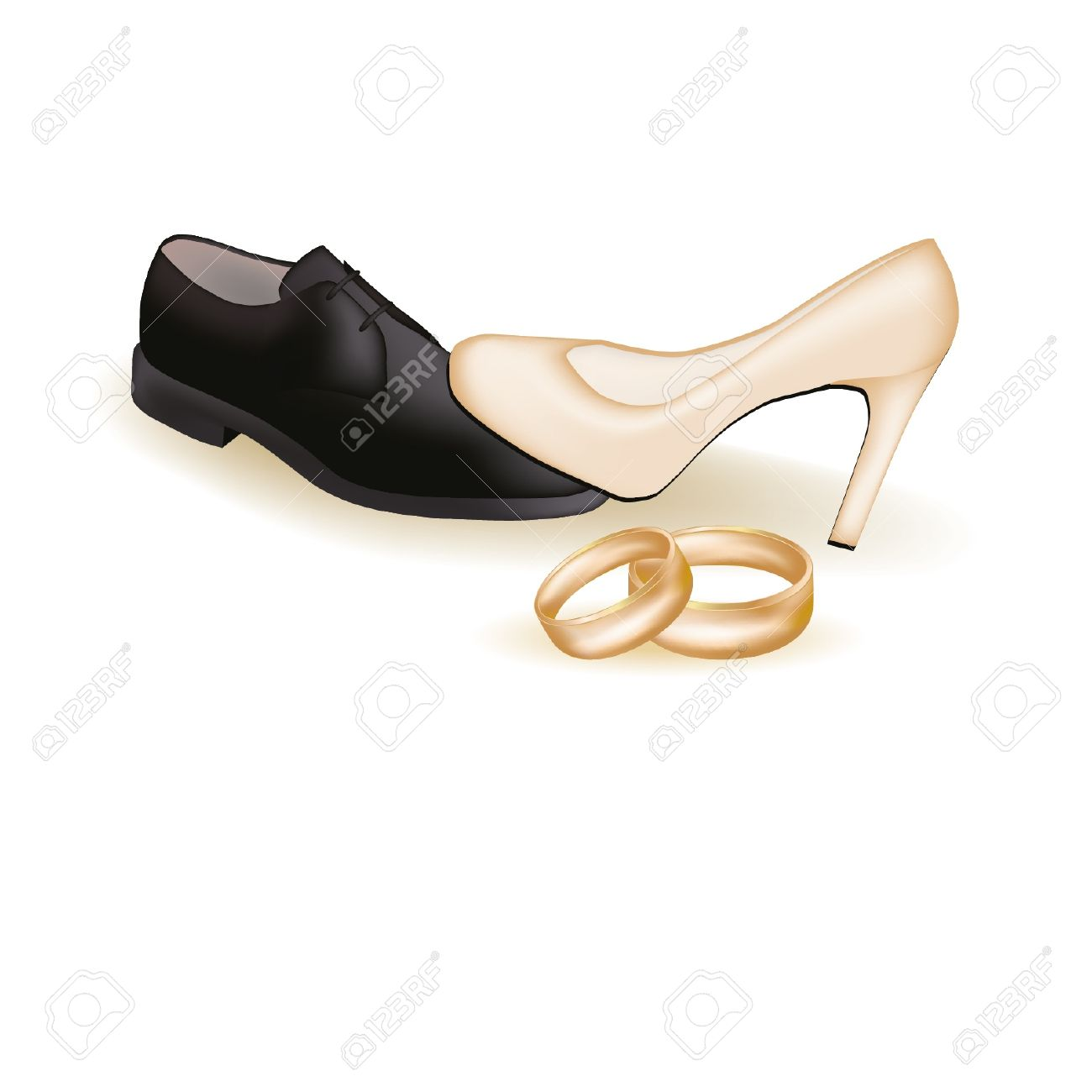 62737e6a9d399 Wedding shoes and golden rings, illustration