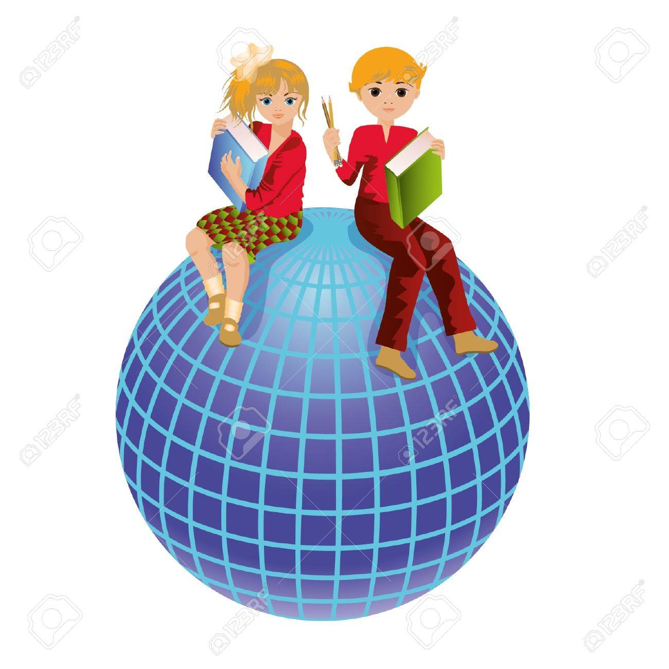 Back to school  Schoolkids and globe illustration Stock Vector - 14972752