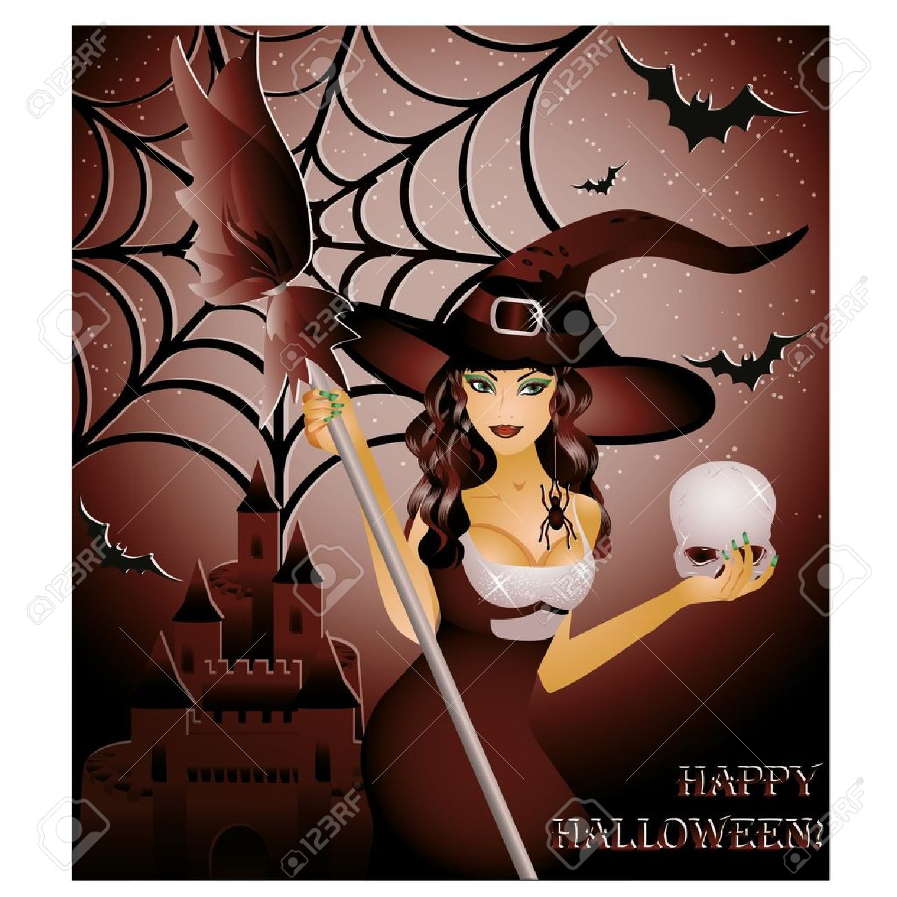 Happy halloween card, sexy witch and skull ,  illustration Stock Vector - 14991593